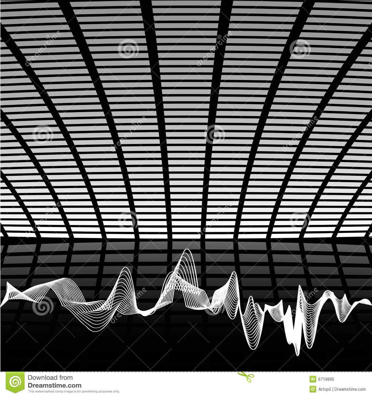 Abstract black and white hi tech music composition with sound wave