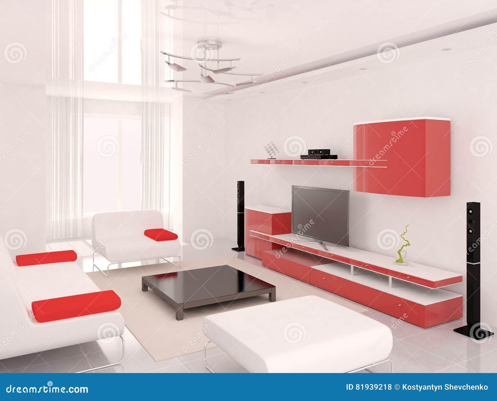 Modern Furniture Hawaii hi-tech red living room. stock illustration - image: 81939218