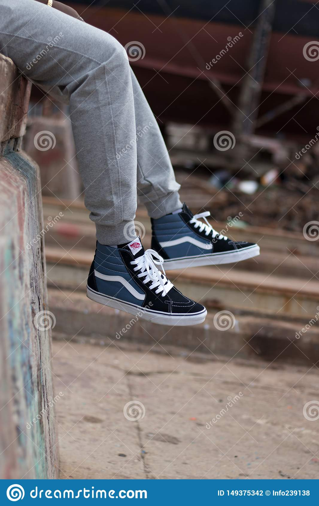 Hi Top Vans on Feet editorial