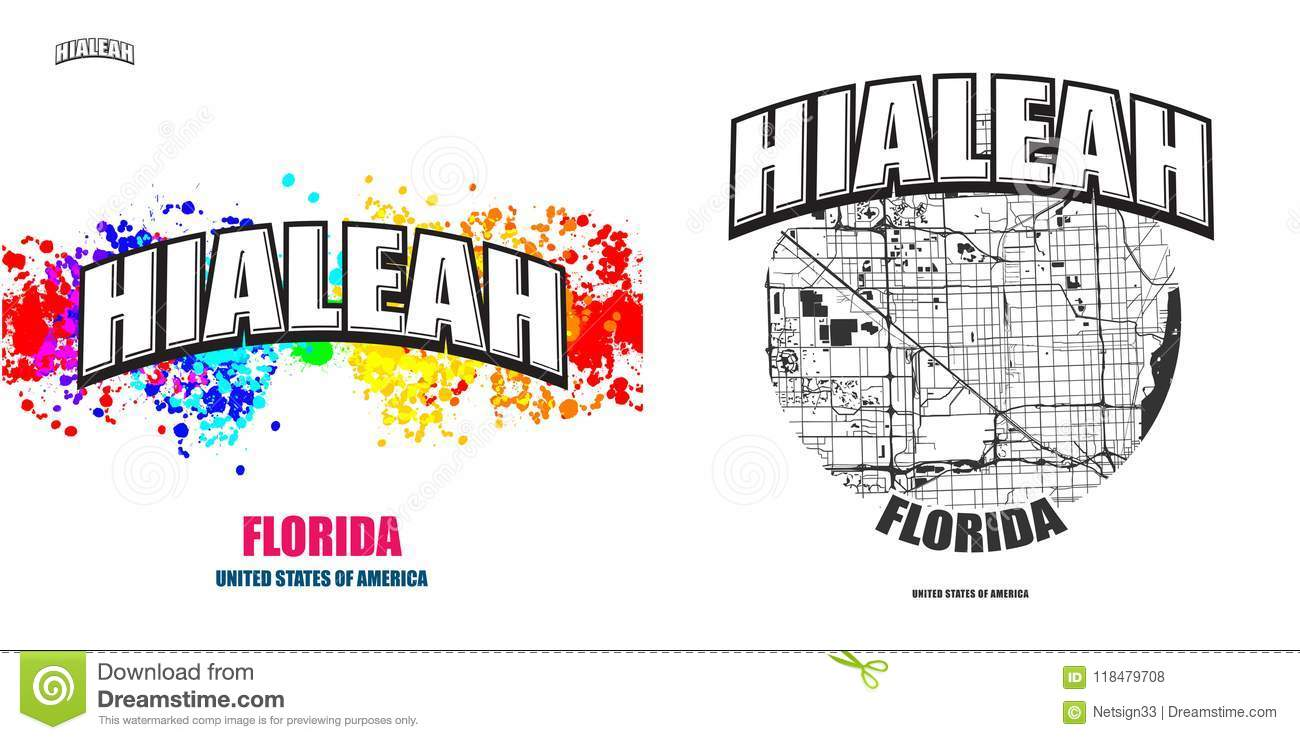 Hialeah Florida Two Logo Artworks Stock Vector Illustration Of