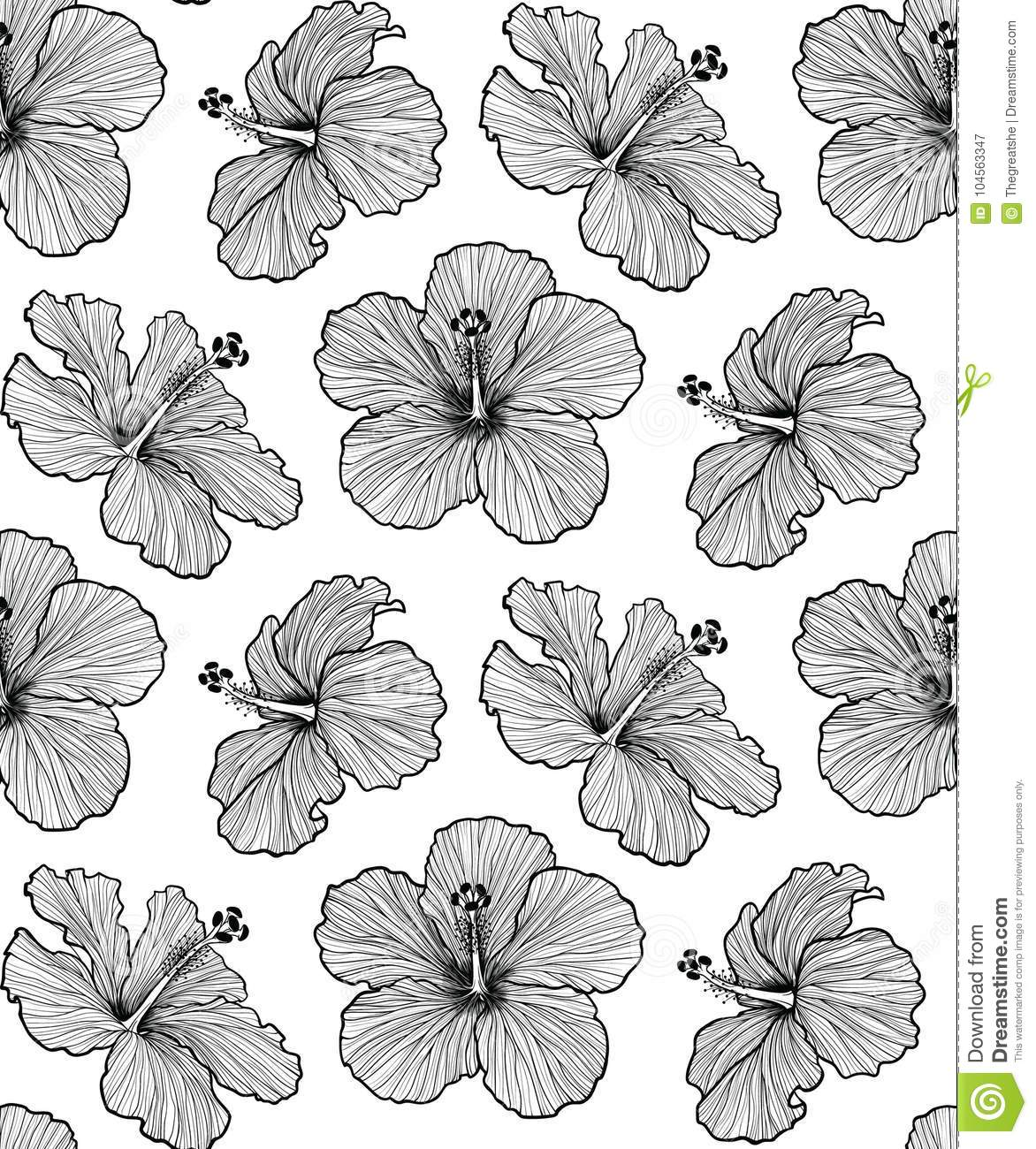 Hibiscus blooming flower seamless pattern stock vector hibiscus flower seamless pattern good for textile design or wrapping paper izmirmasajfo
