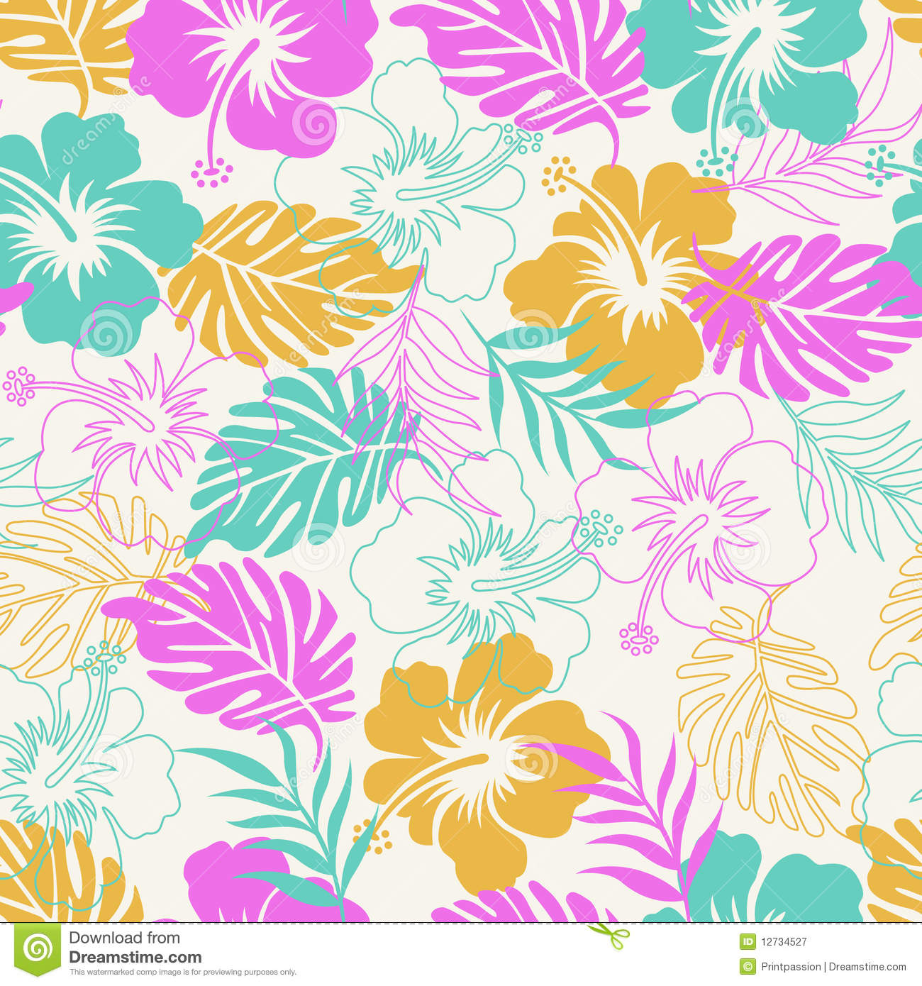 Hibiscus Floral Stock Vector Illustration Of Floral 12734527