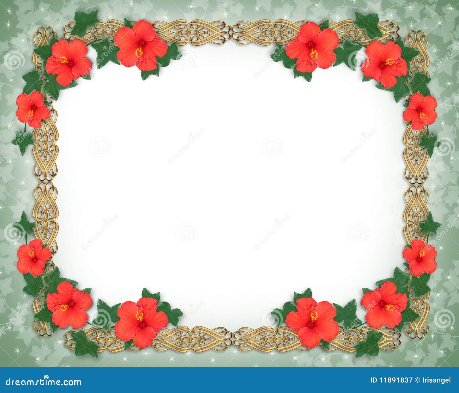 Hibiscus Floral Border stock illustration. Illustration of ...
