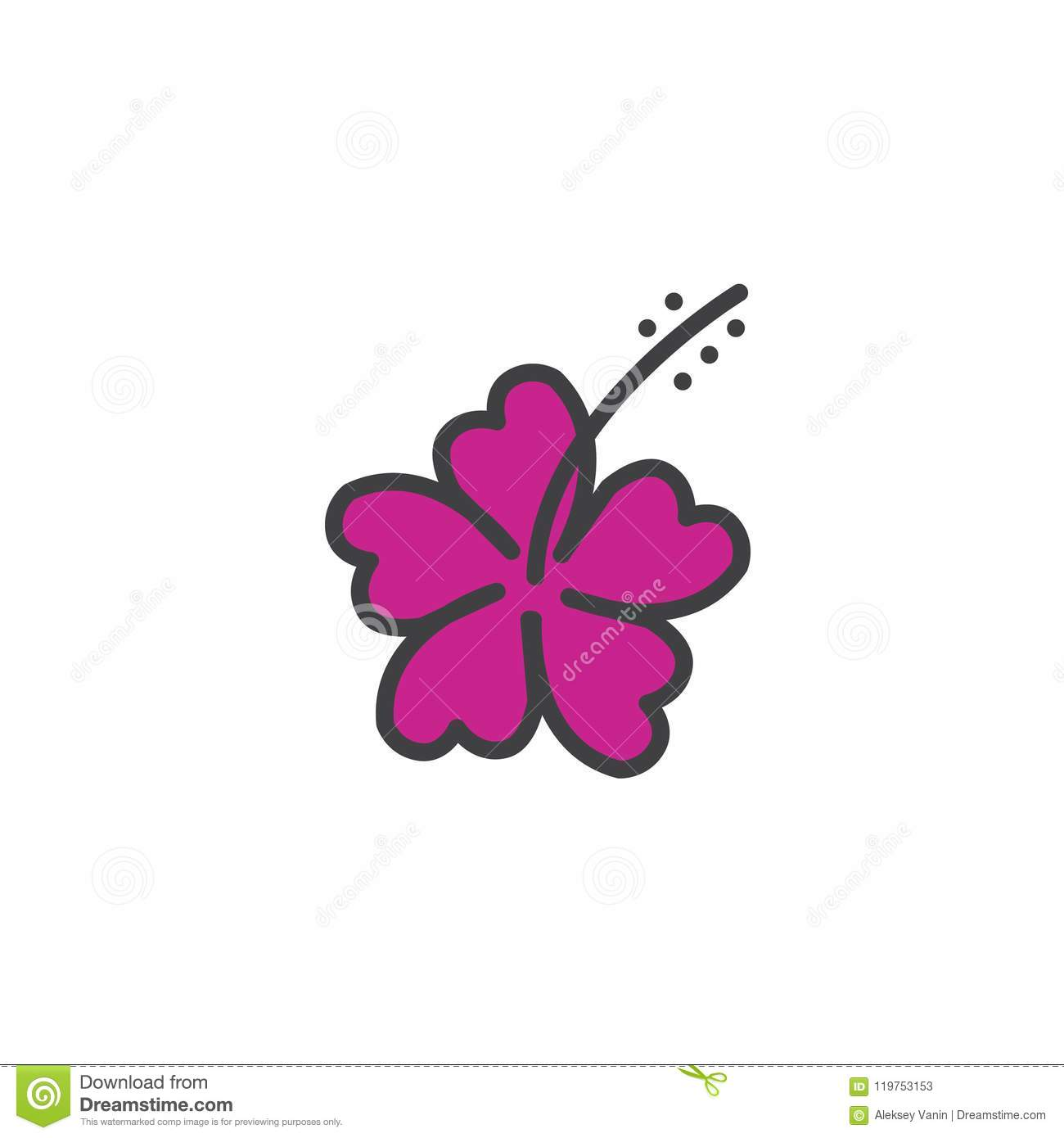 Hibiscus Flower Filled Outline Icon Stock Vector Illustration Of