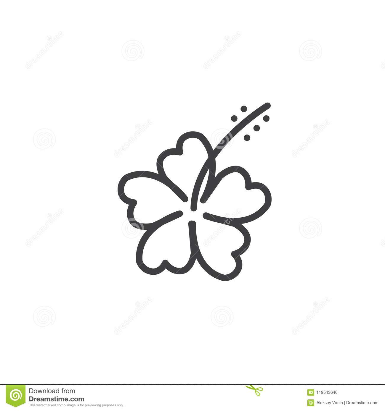 Hibiscus Flower Outline Icon Stock Vector Illustration Of
