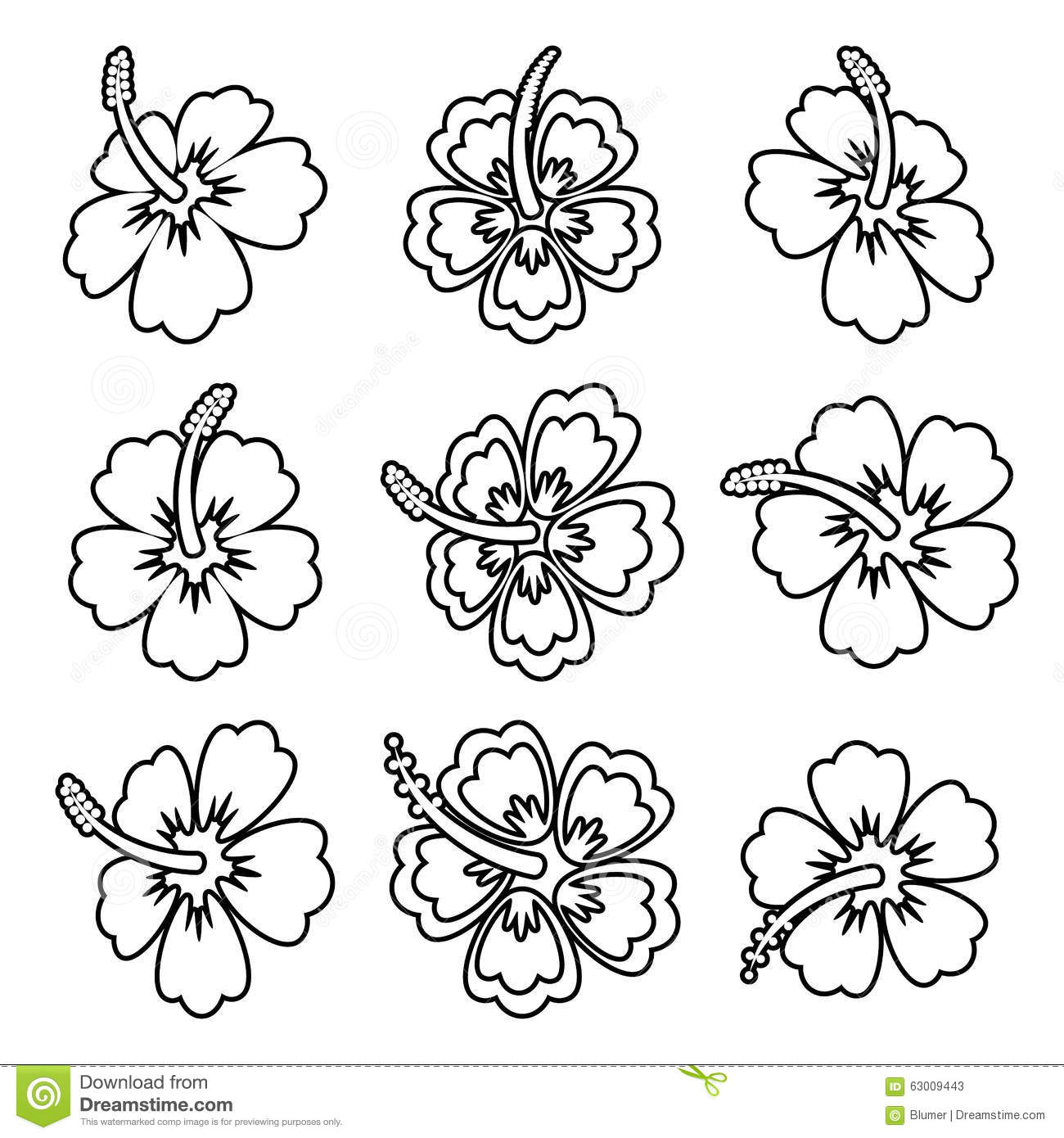 Hibiscus Tattoo Outline: Hibiscus Flower Outline Icons Stock Vector