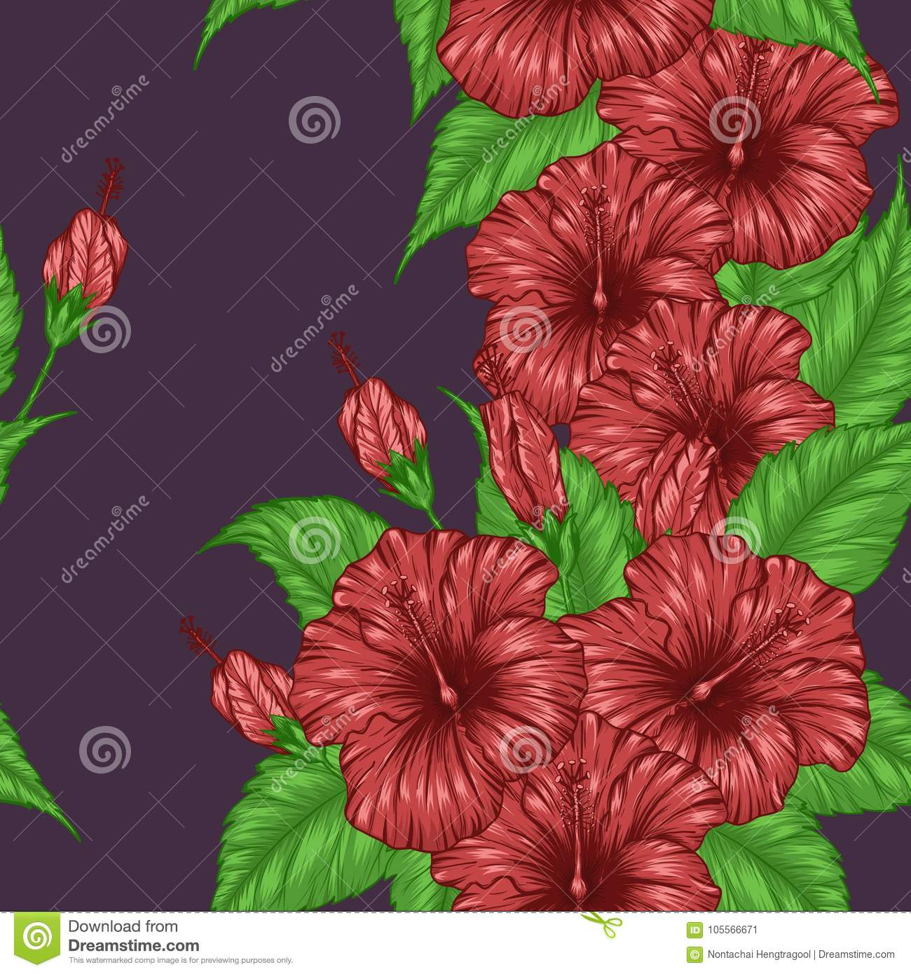 Hibiscus flower pattern by hand drawing stock vector illustration hibiscus flower pattern by hand drawing flora cloth izmirmasajfo