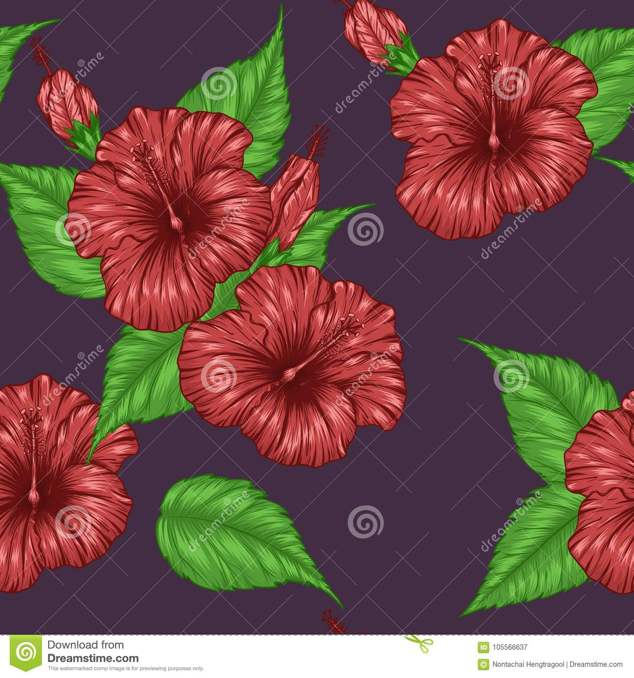 Hibiscus Flower Pattern By Hand Drawing Stock Vector Illustration