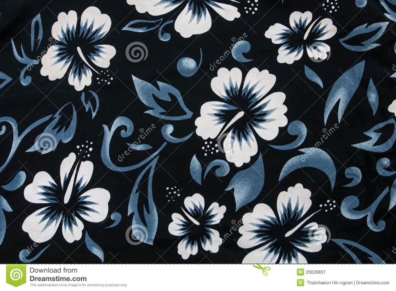 hibiscus flower seamless fabric textile stock image