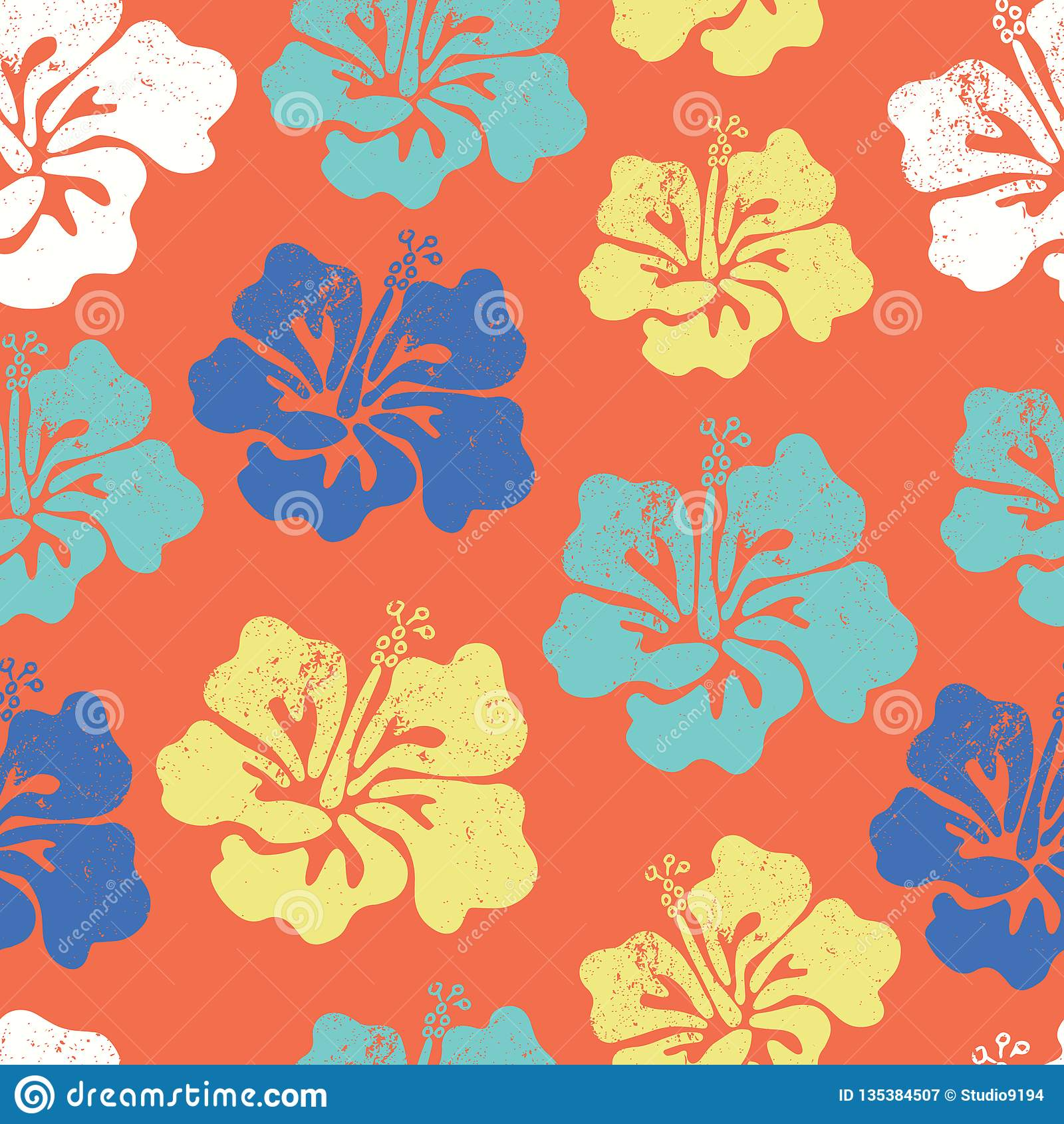 8753a5c02a23 Hibiscus flower seamless vector pattern. Aloha Hawaiian Shirt Seamless  Background Pattern. Blue orange teal