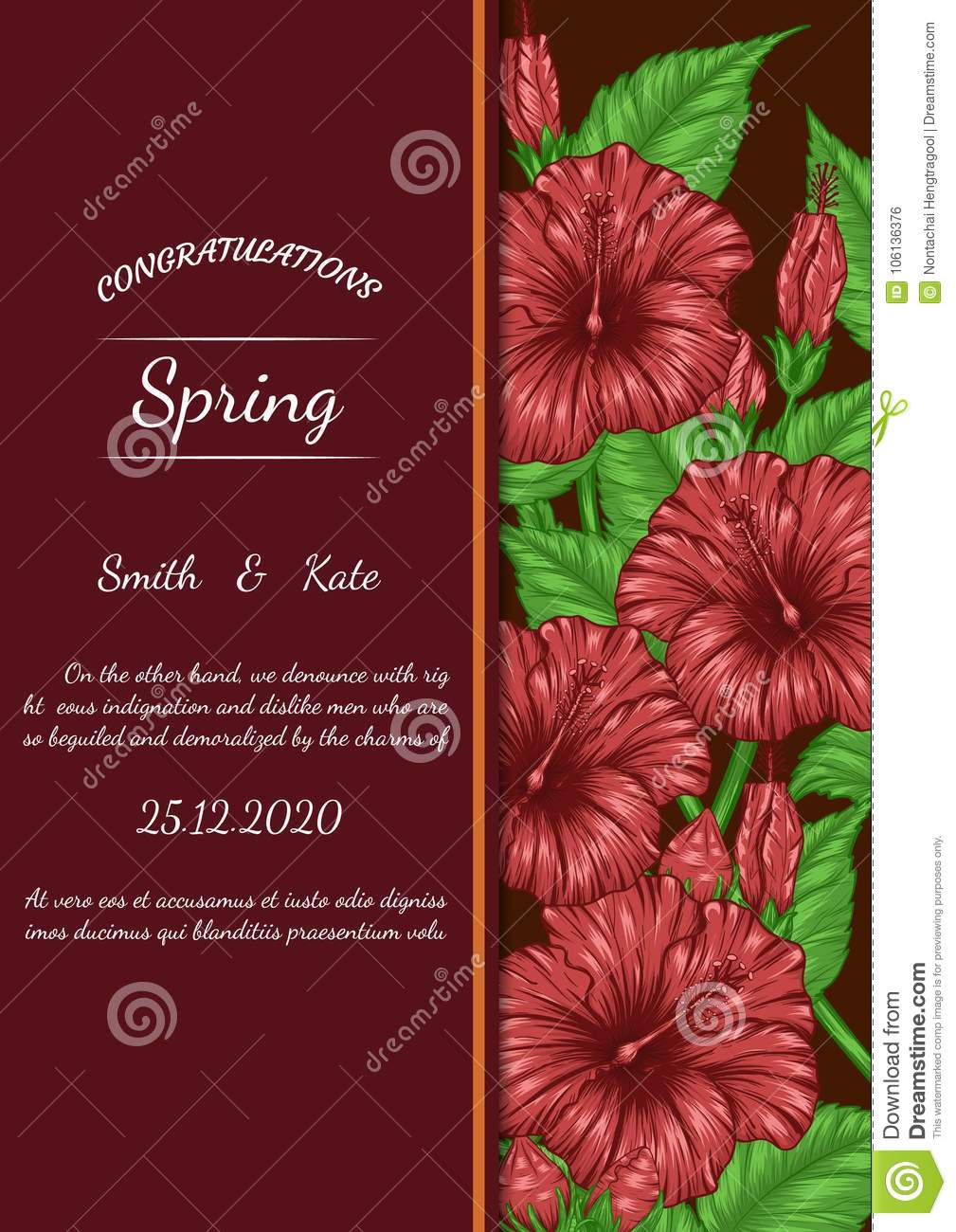 Hibiscus Flower Vector Card By Hand Drawing Stock Vector