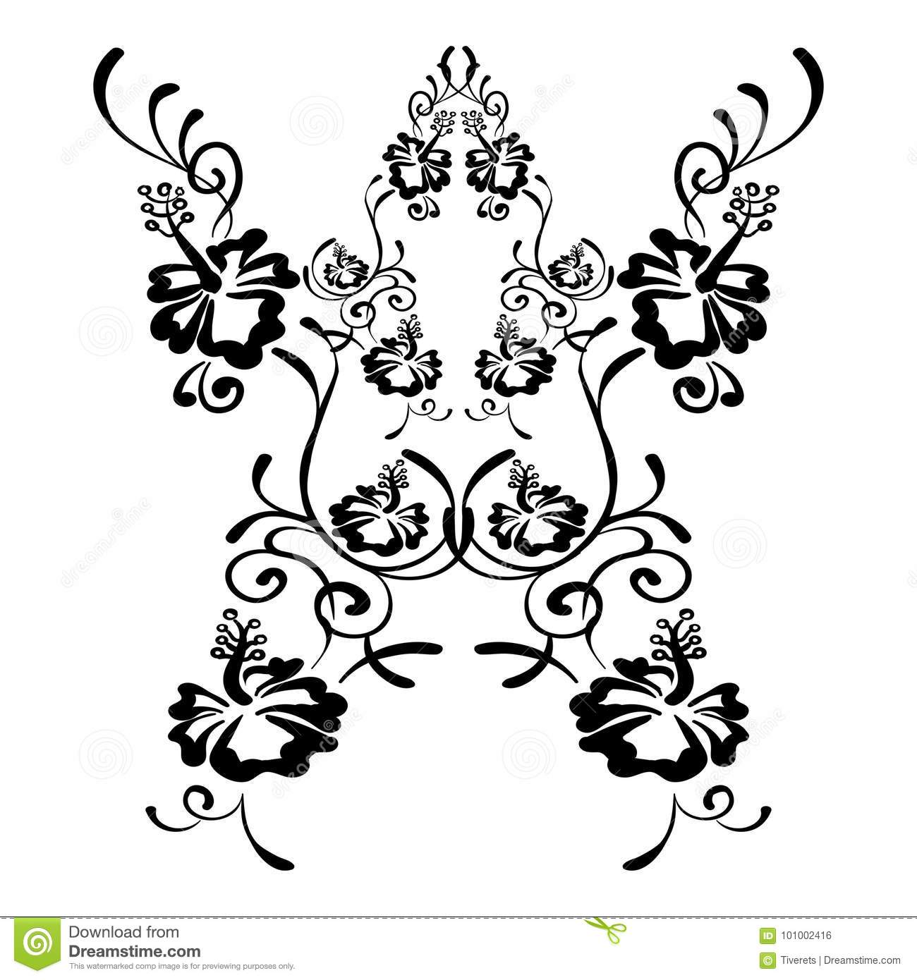 Hibiscus Flowers Drawing And Sketch With Line Art Stock Vector