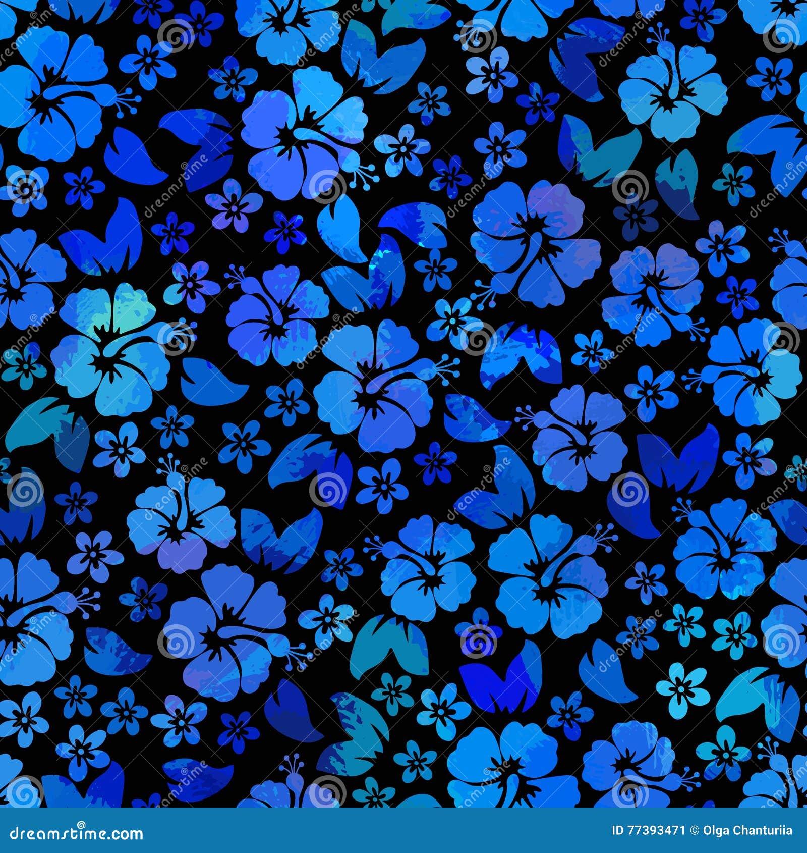 Hibiscus Flowers Seamless Pattern Hawaiian Aloha Shirt Background
