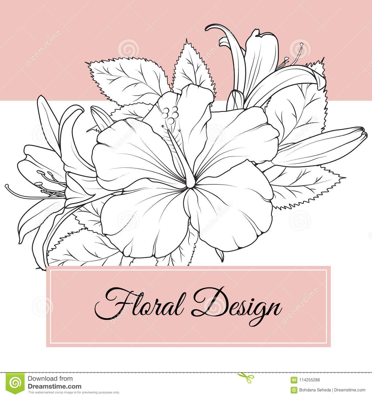 Hibiscus Lily Flowers Floral Design Card Template Stock Vector Illustration Of Isolated Floral 114255288
