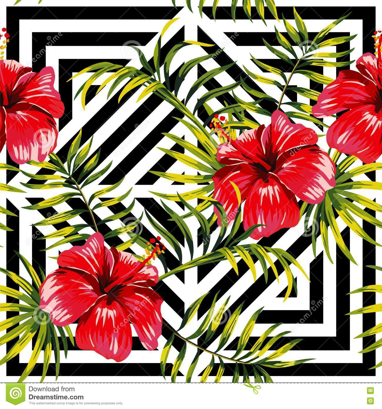 Hibiscus And Palm Leaves Painting Tropical Floral Pattern Geome