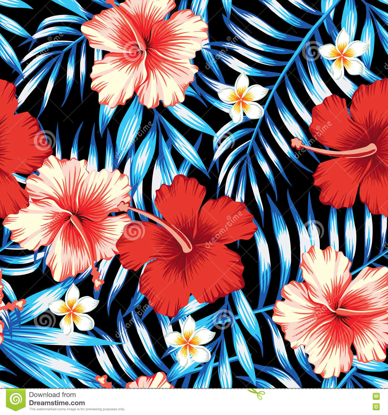 Hibiscus Red And Palm Leaves Blue Seamless Background Stock Vector