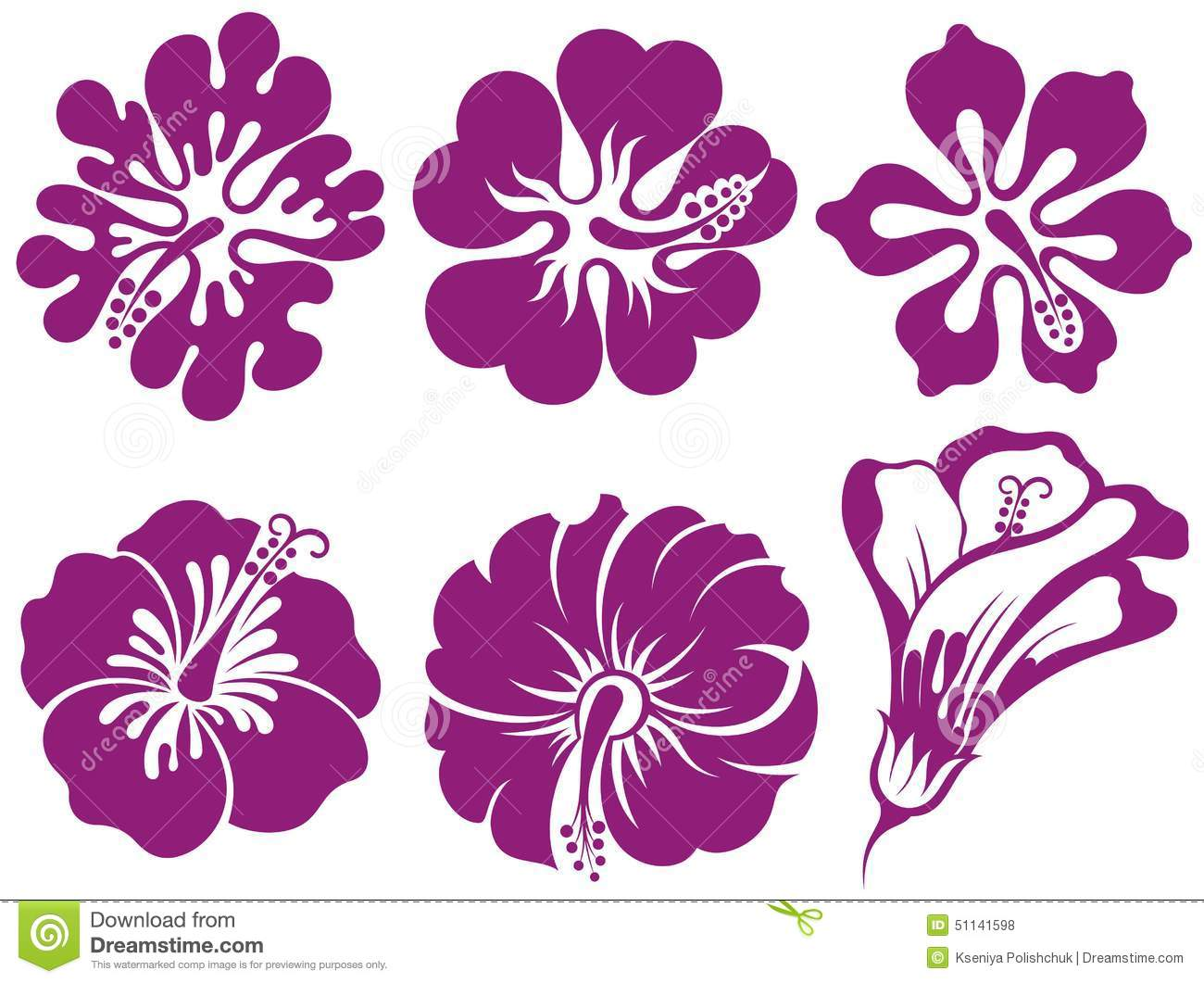 Hibiscus silhouettes vector set stock vector illustration of hibiscus silhouettes vector set izmirmasajfo