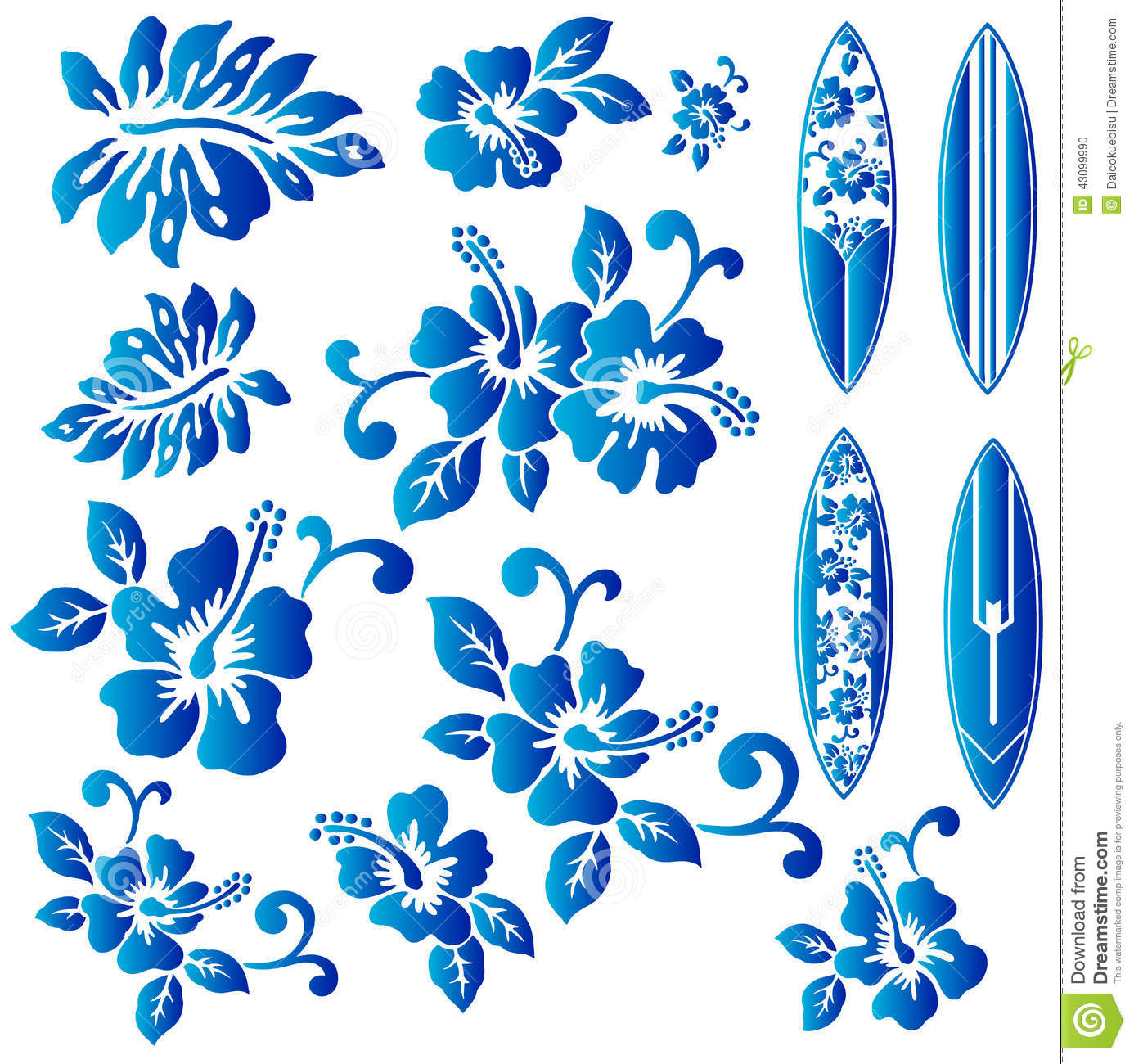 Hibiscus And A Surfboard Stock Vector Image 43099990