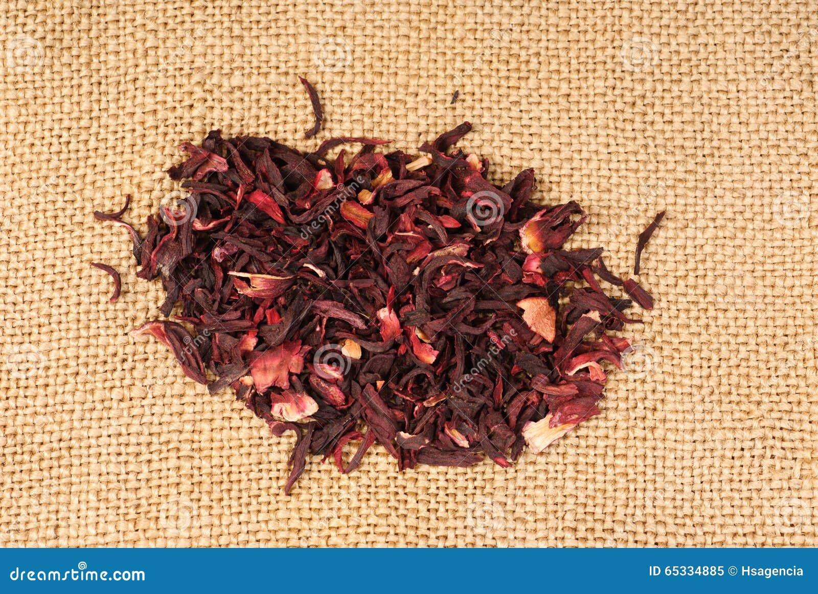 Hibiscus Tea Macro Dry Flower On Sackcloth Stock Image Image Of
