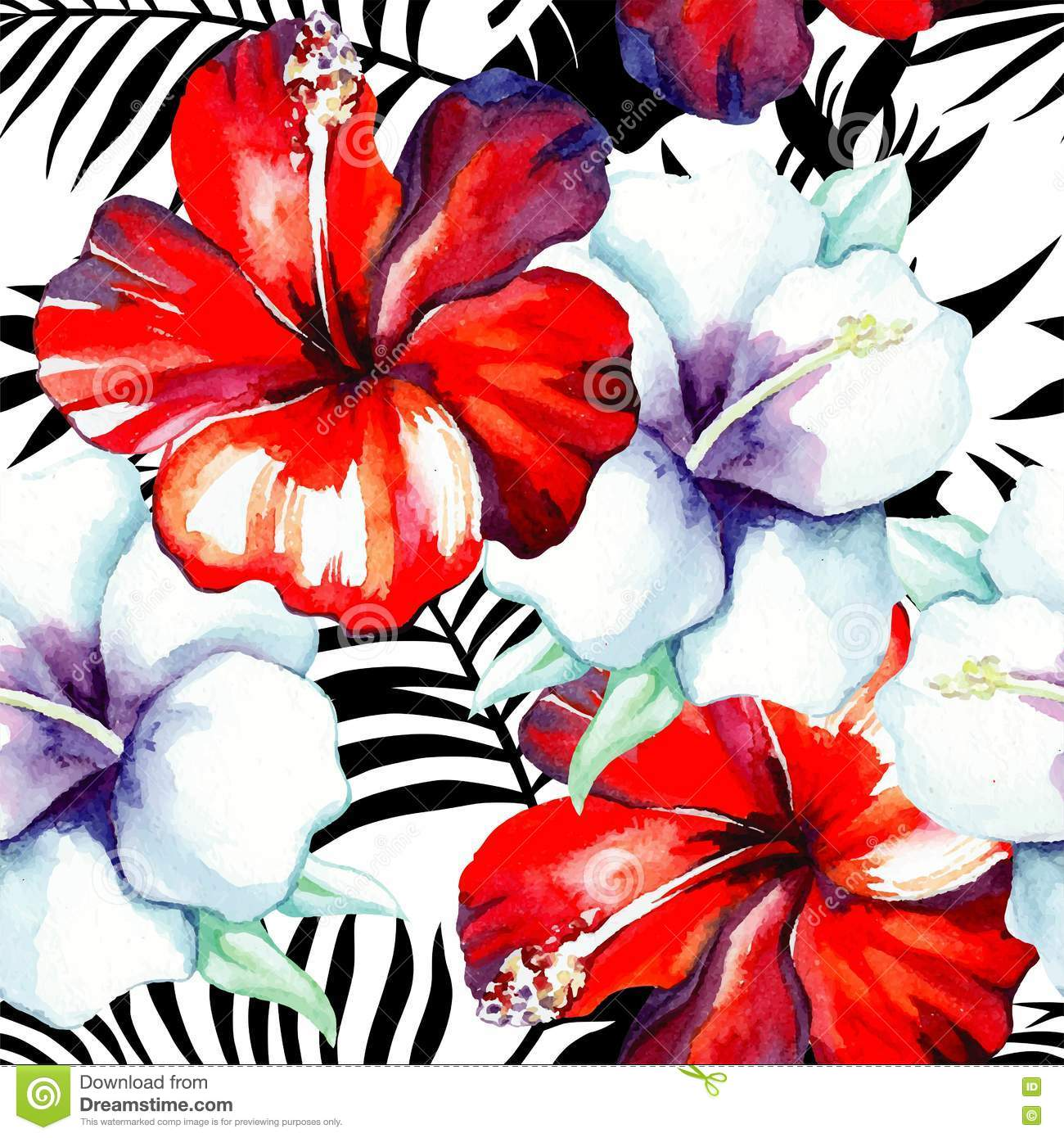 Hibiscus Watercolor Pattern Black And White Tropical Leaves Stock