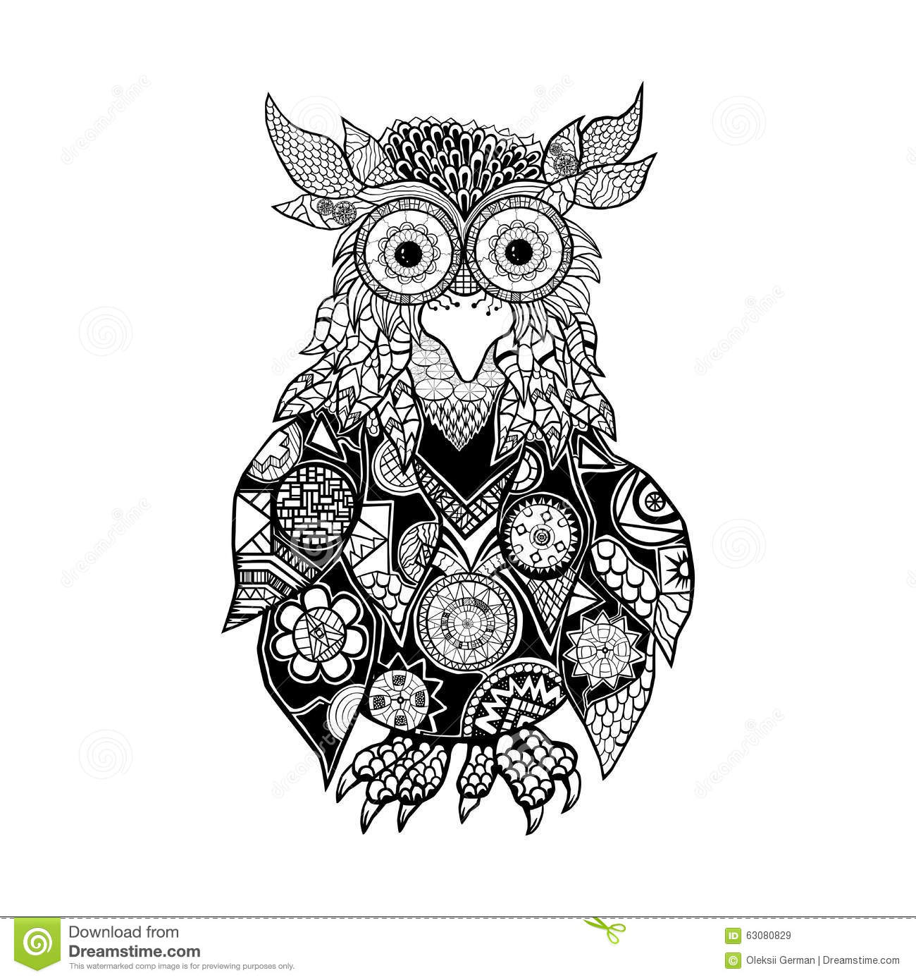 Download Hibou illustration stock. Illustration du hibou, animal - 63080829