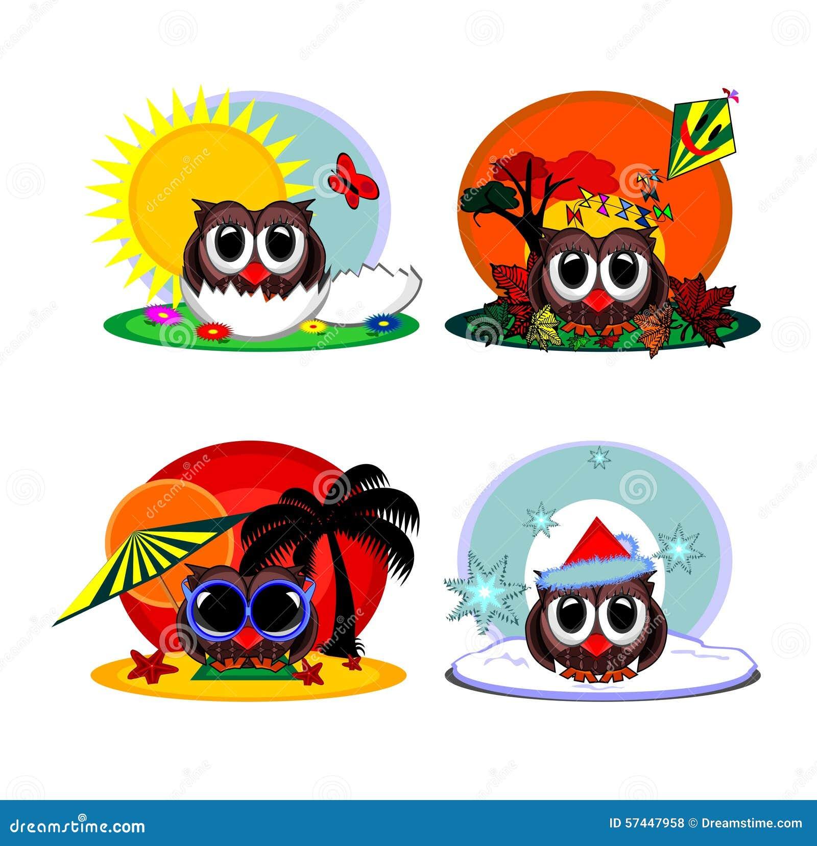 Hibou de bande dessin e pendant quatre saisons illustration stock illustration du shell neige - Dessin 4 saisons ...