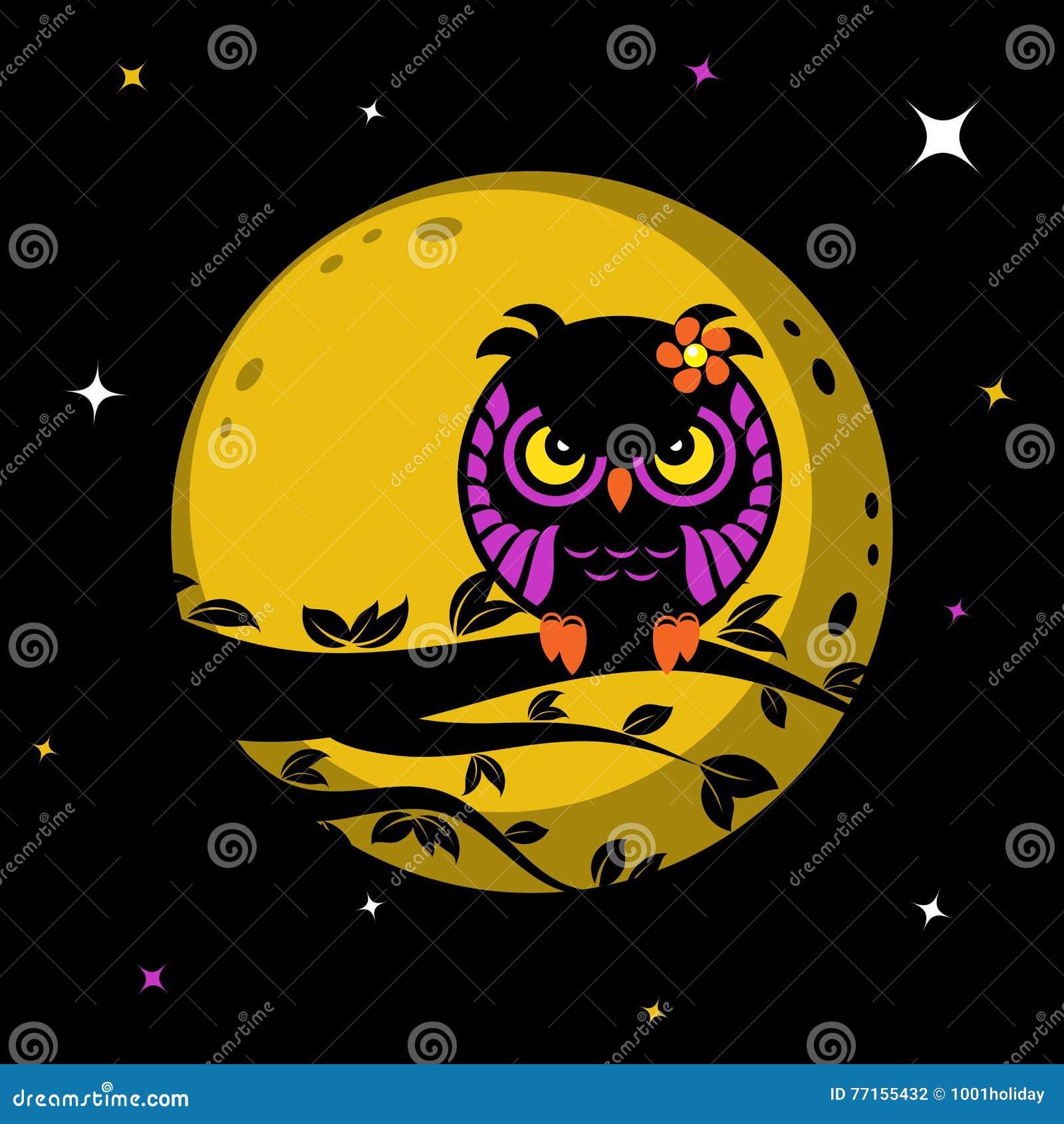 Hibou drôle devant la lune