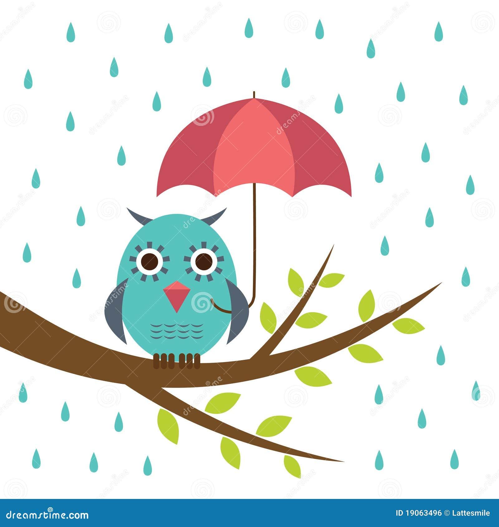 Hibou mignon avec le parapluie