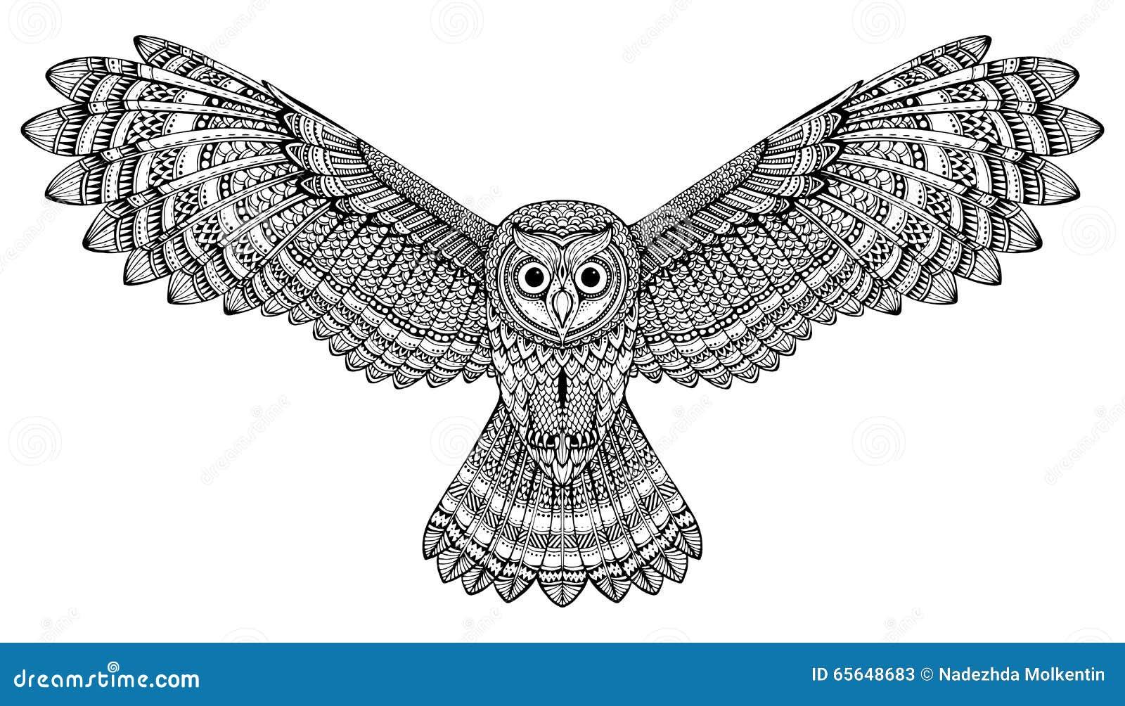 Hibou tiré par la main de vol de vecteur Art noir et blanc de zentangle
