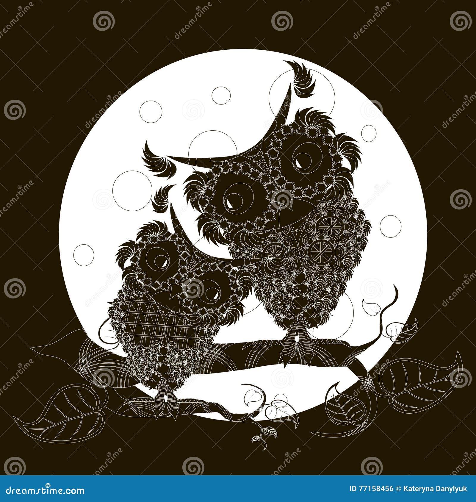 Hiboux noirs et blancs sur des branches, pleine lune