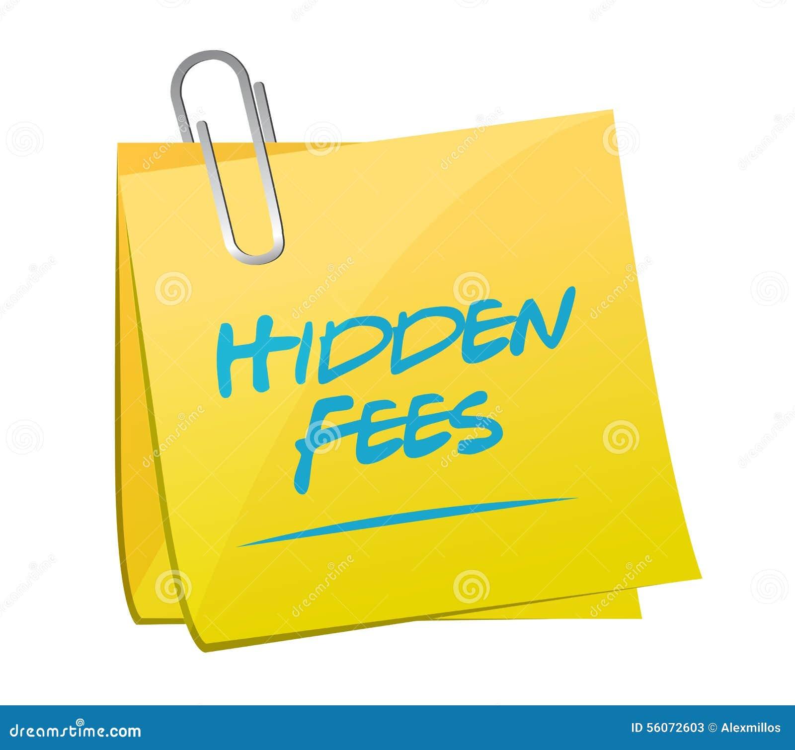 Hidden Fees Yellow Sign Concept Illustration Stock