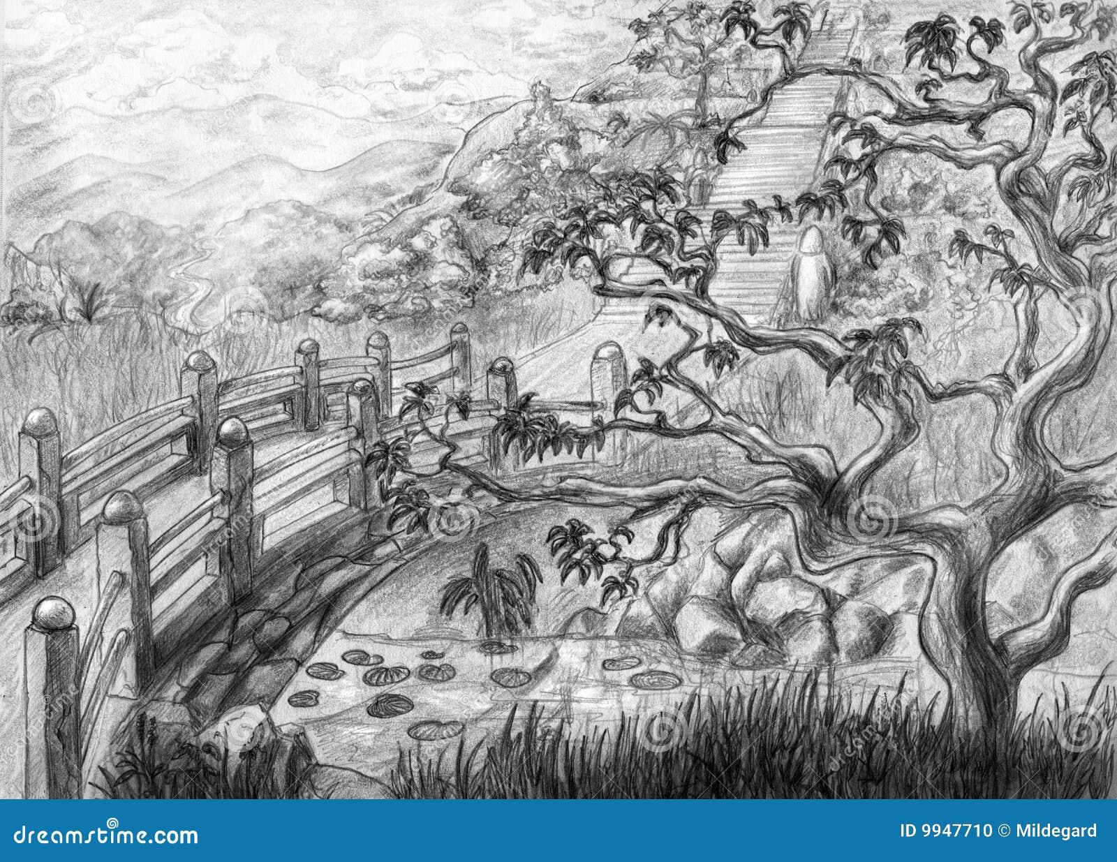 hidden shrine stock illustration image of landscape branch 9947710. Black Bedroom Furniture Sets. Home Design Ideas