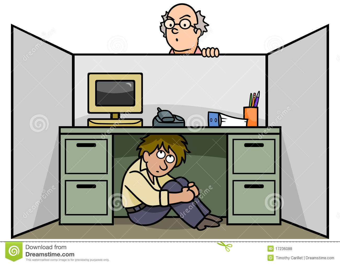 Employee hiding under his desk so the manager can't find him.
