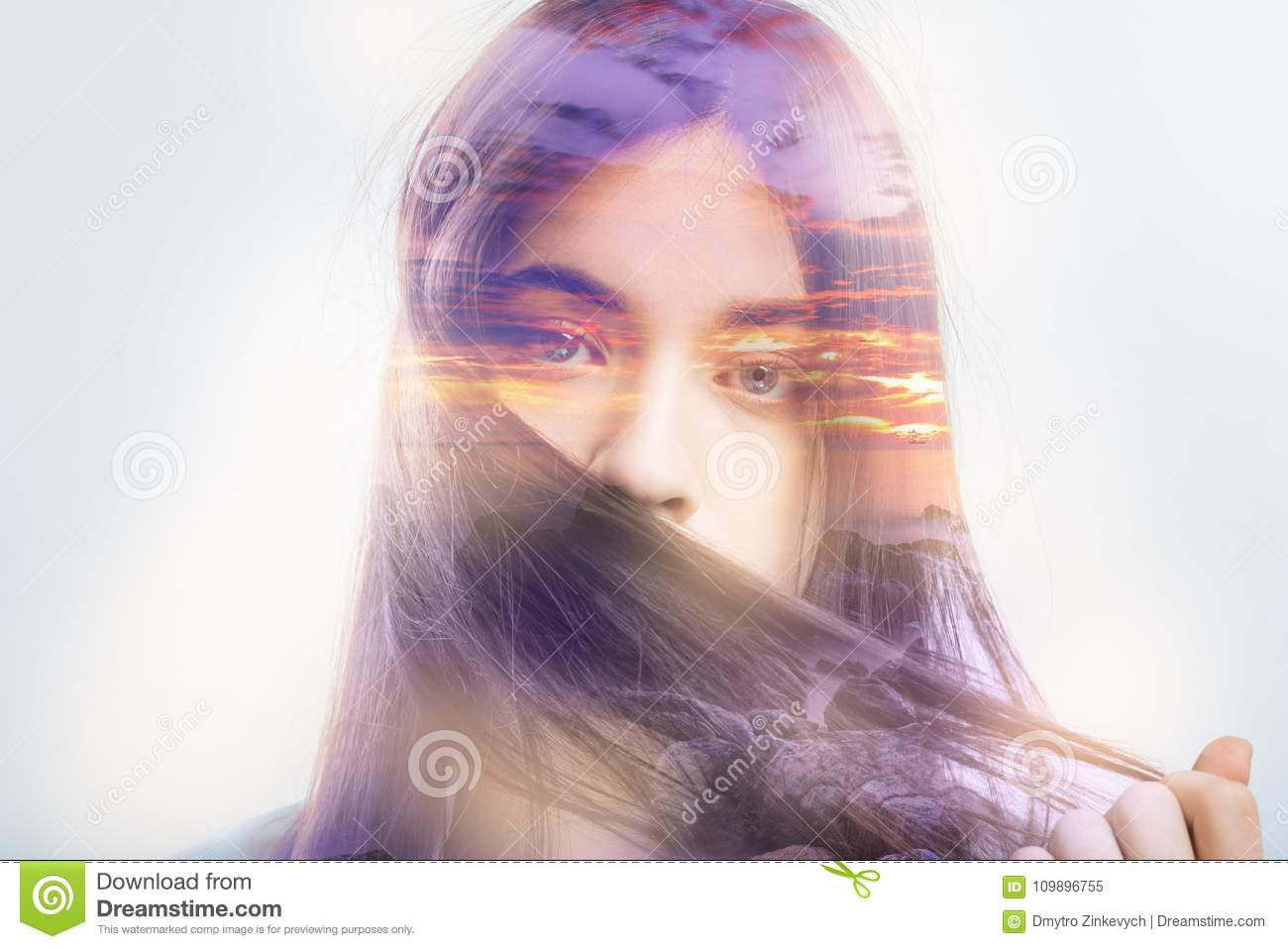 Shy Woman Holding Her Hair Lock And Hiding Her Face Behind It Stock