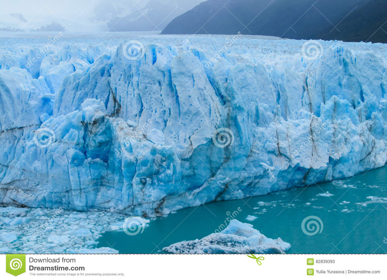 Hielo azul Perito glaciar Moreno en Patagonia