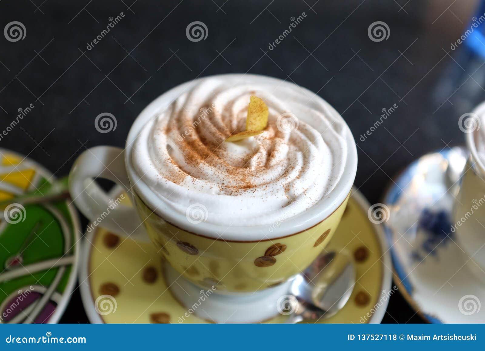 Hielo de la moca de Coffe mezclado con el microprocesador de la crema y de la vainilla