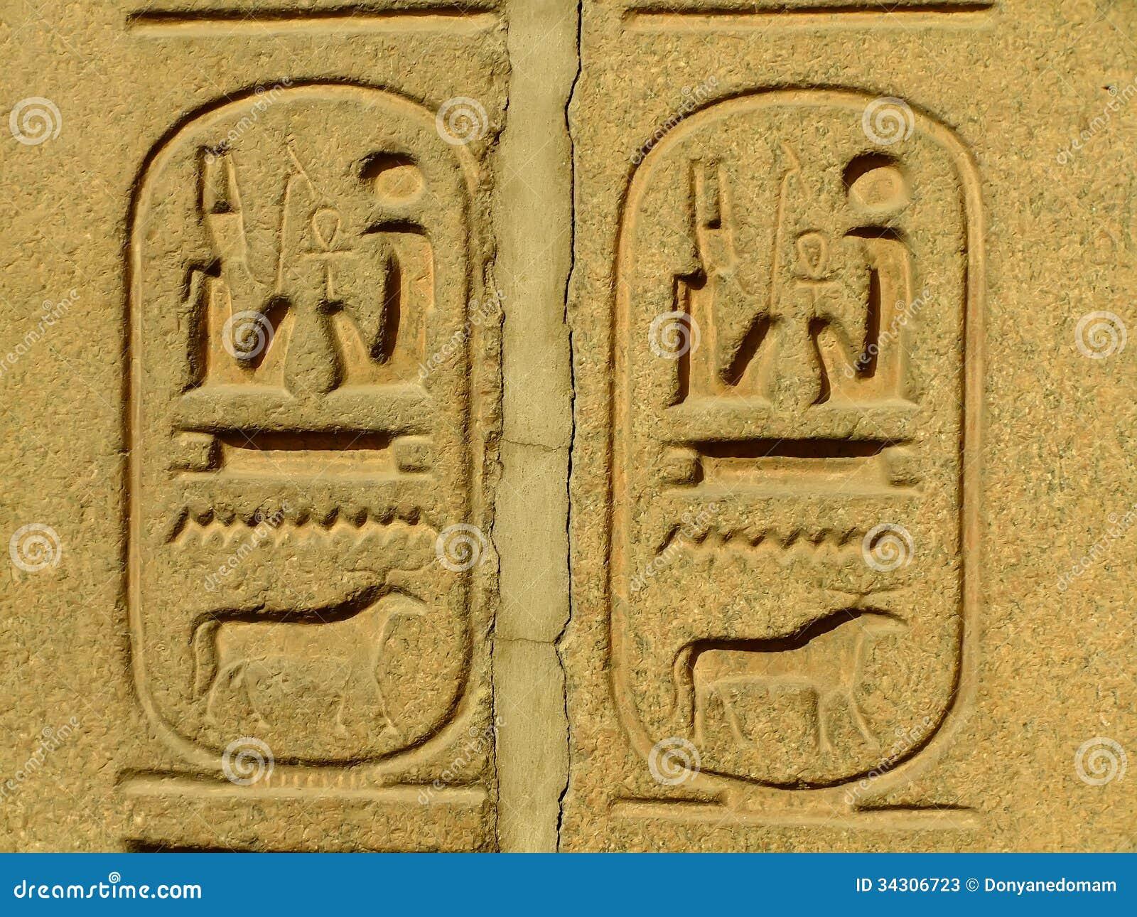 Hieróglifos antigos no museu egípcio exterior da exposição, o Cairo