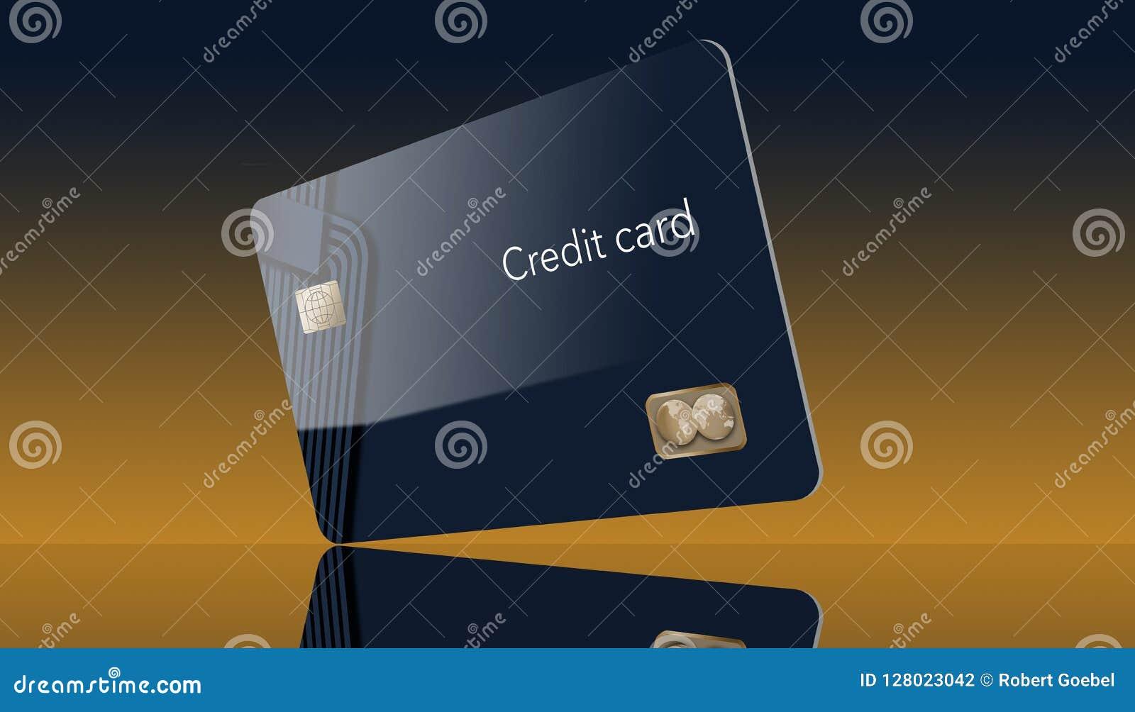 Hier is een moderne creditcard die een spot met generisch embleem is