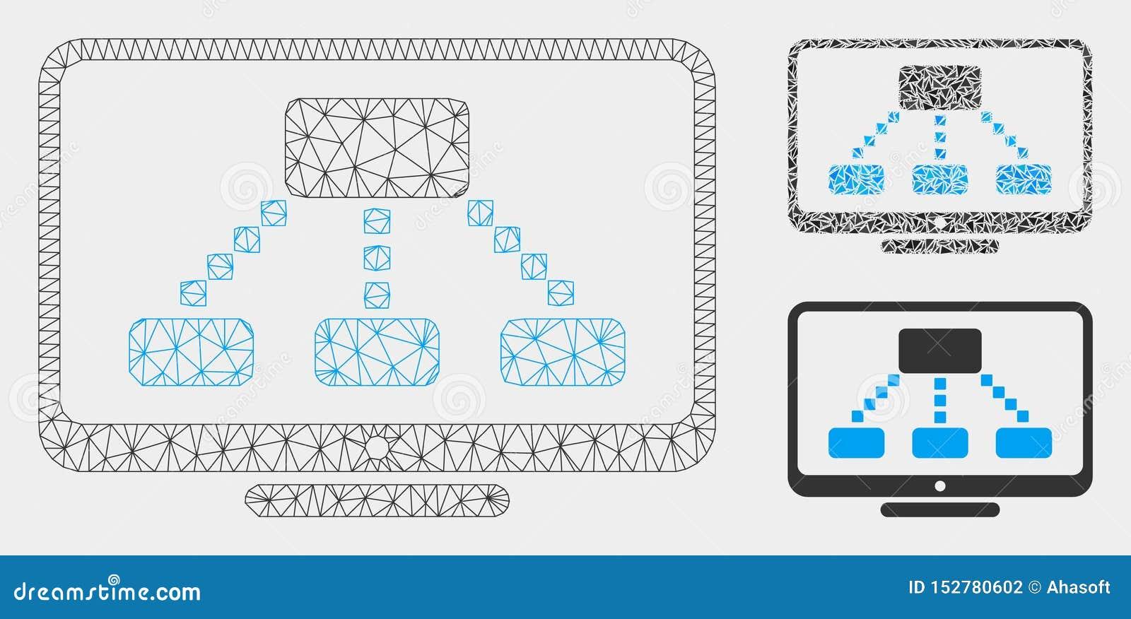 Hierarchia monitoru siatki Drucianej ramy trójboka i modela mozaiki Wektorowa ikona