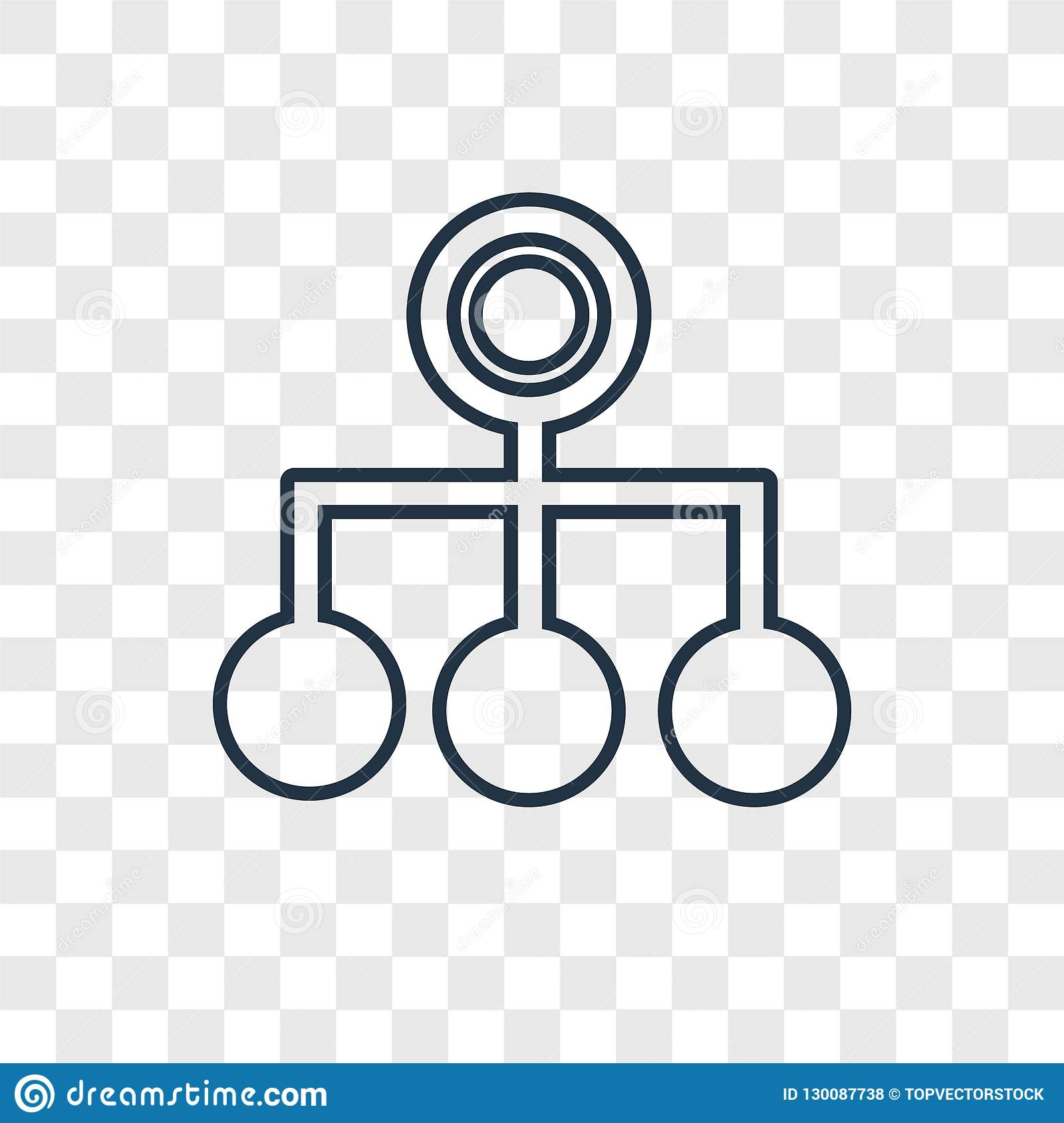 Hierarchical structure concept vector linear icon isolated on tr