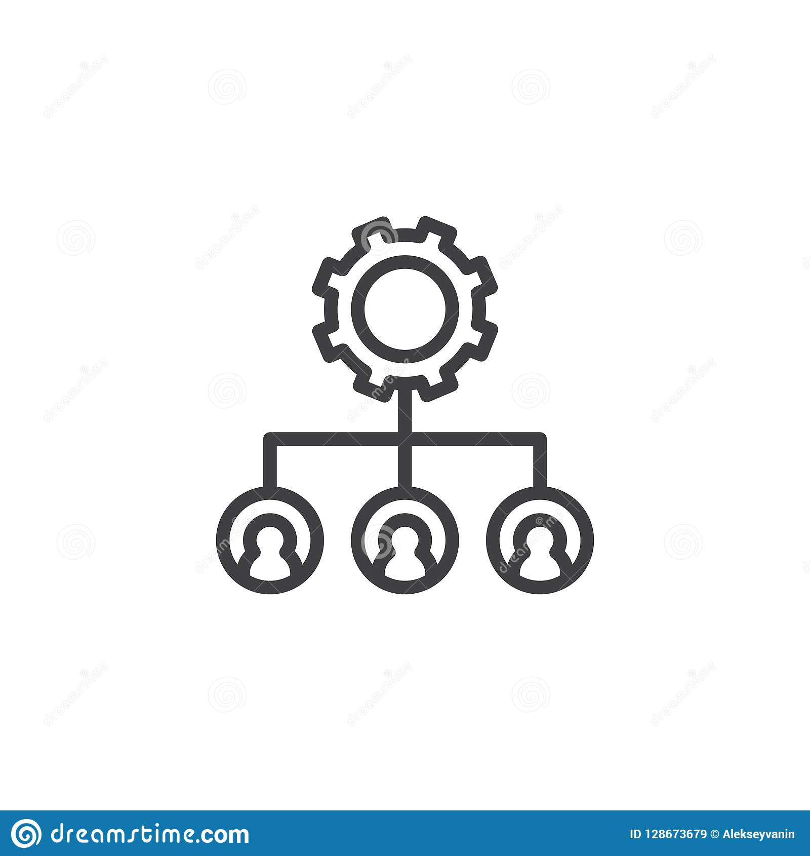 Hierarchical structure gear outline icon