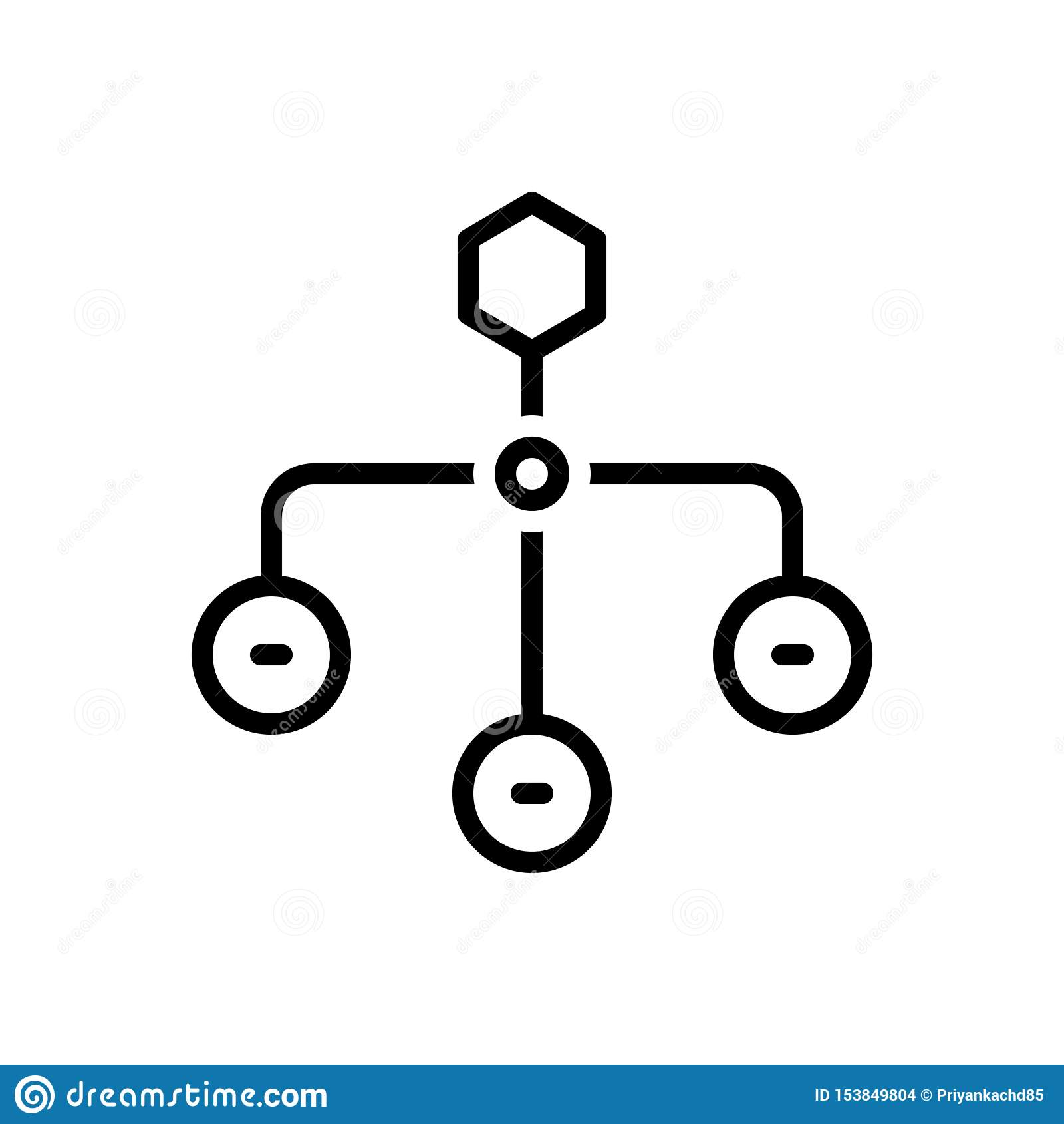 Black line icon for Hierarchical Structure, sitemap and layout