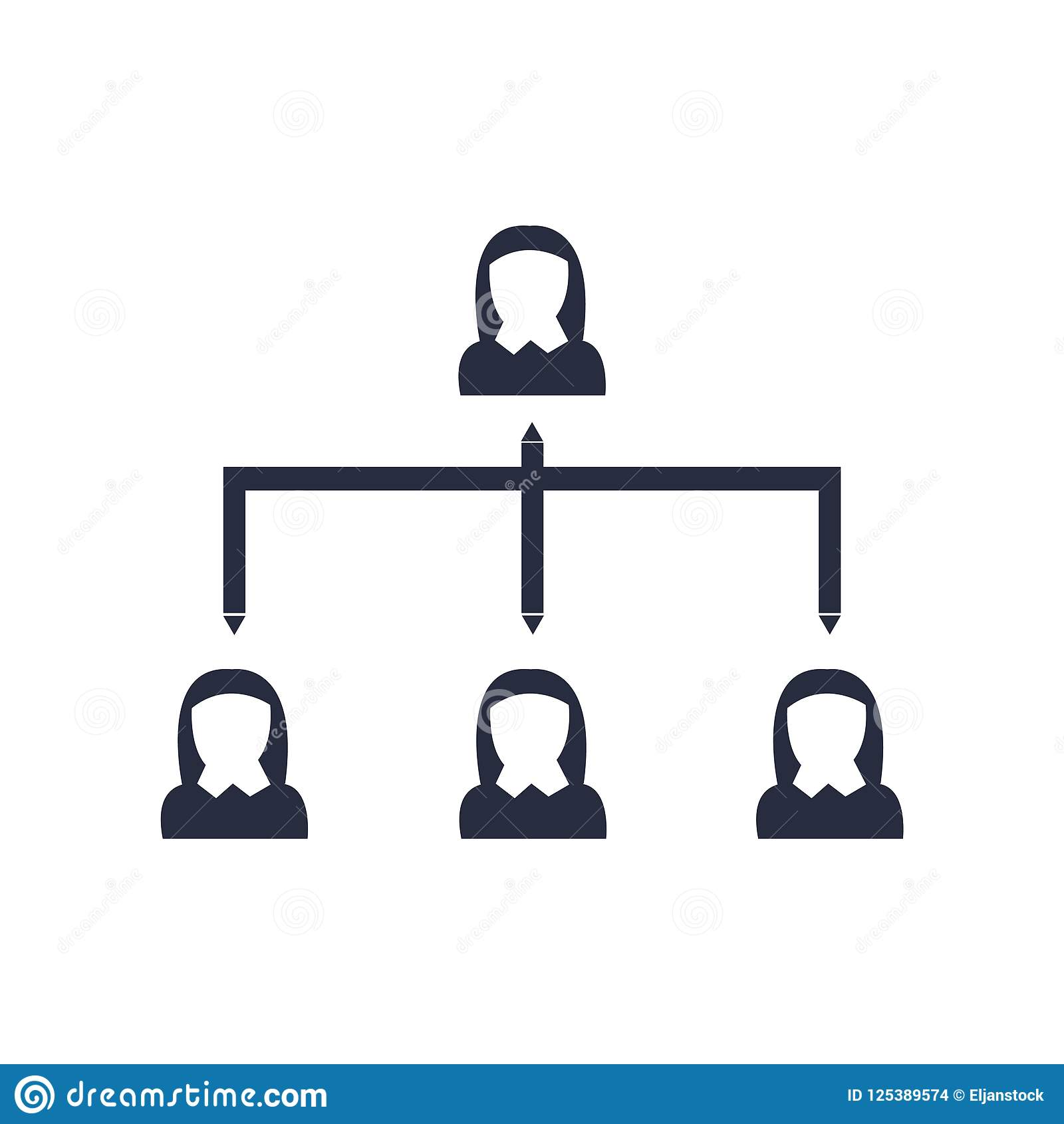 Hierarchical structure icon vector sign and symbol isolated on w