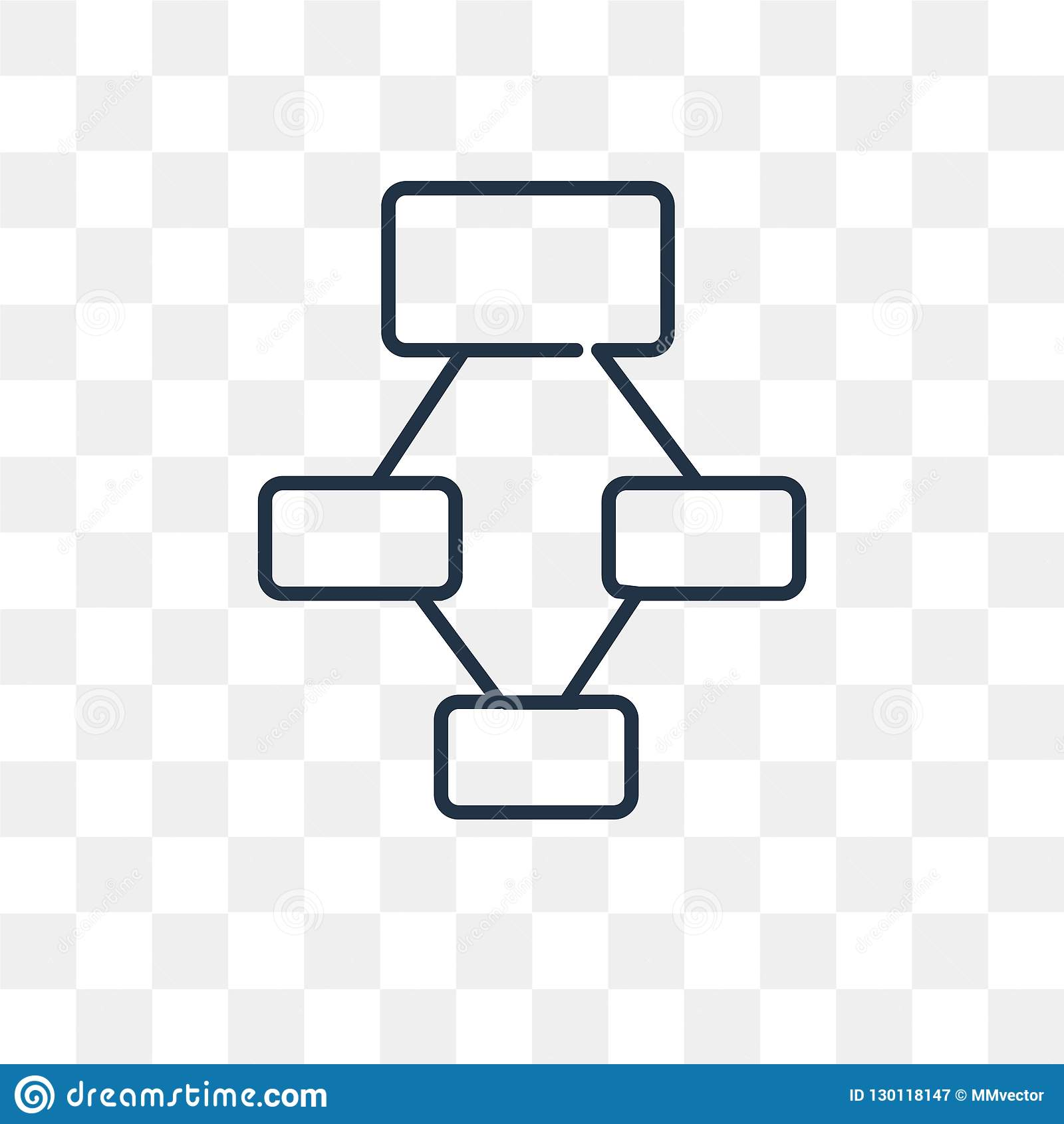 Hierarchical structure vector icon isolated on transparent background, linear Hierarchical structure transparency concept can be