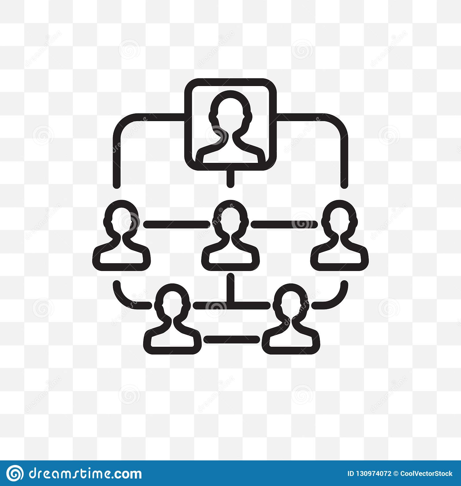 Hierarchical structure vector linear icon isolated on transparent background, Hierarchical structure transparency concept can be u