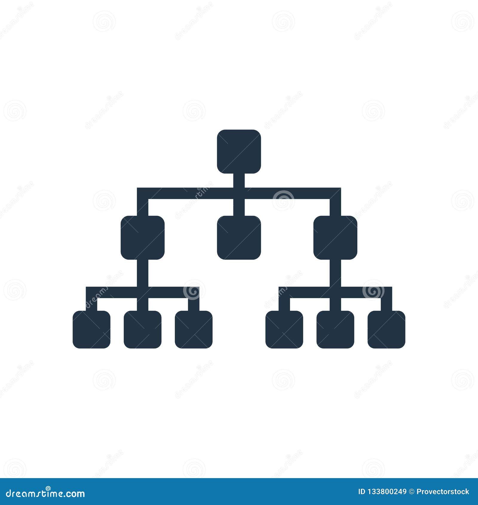 Hierarchical struktury ikony wektor odizolowywający na białym tle