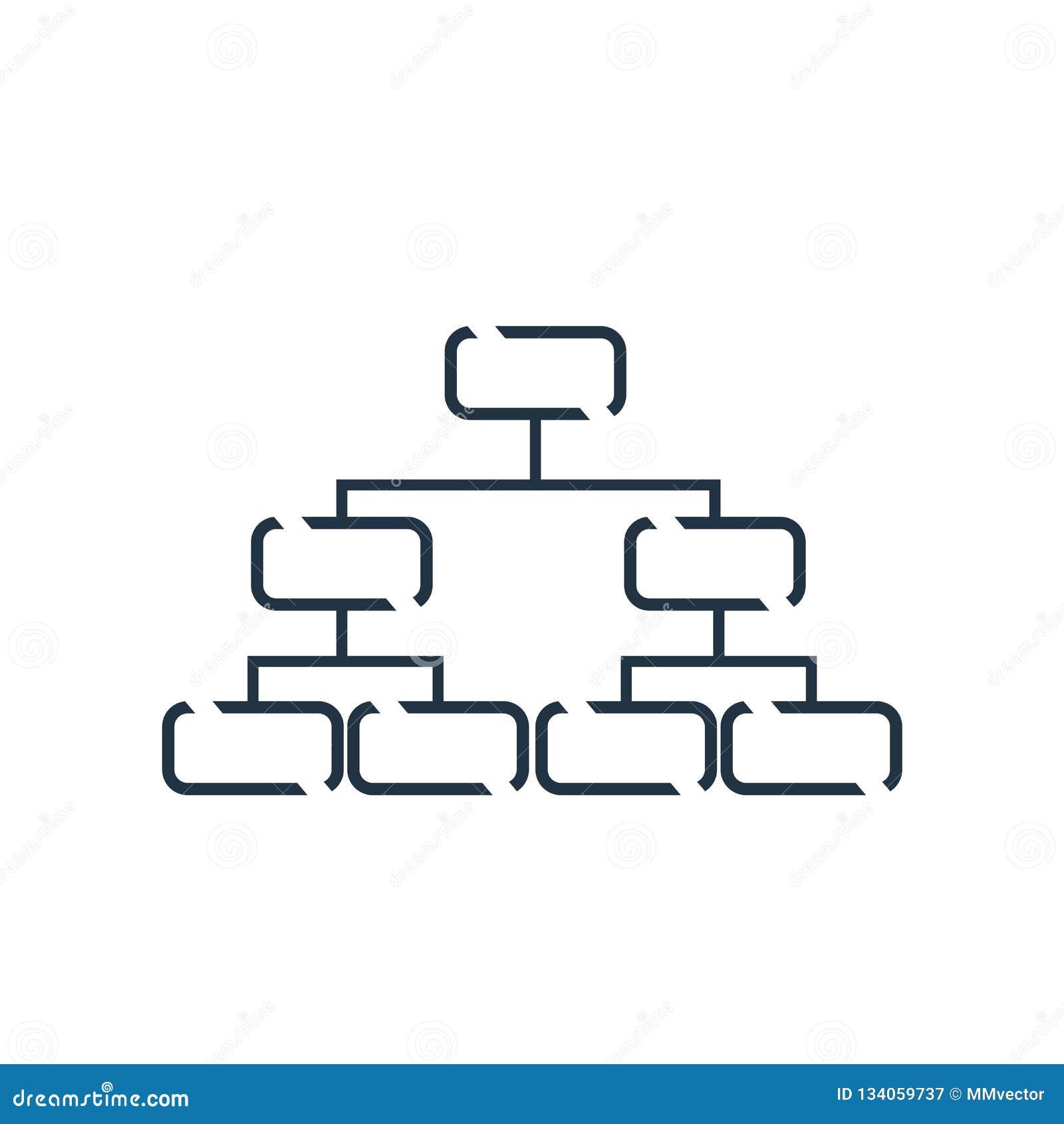 Hierarchical struktury ikony wektor odizolowywający na białym tle, Hierarchical struktury znak