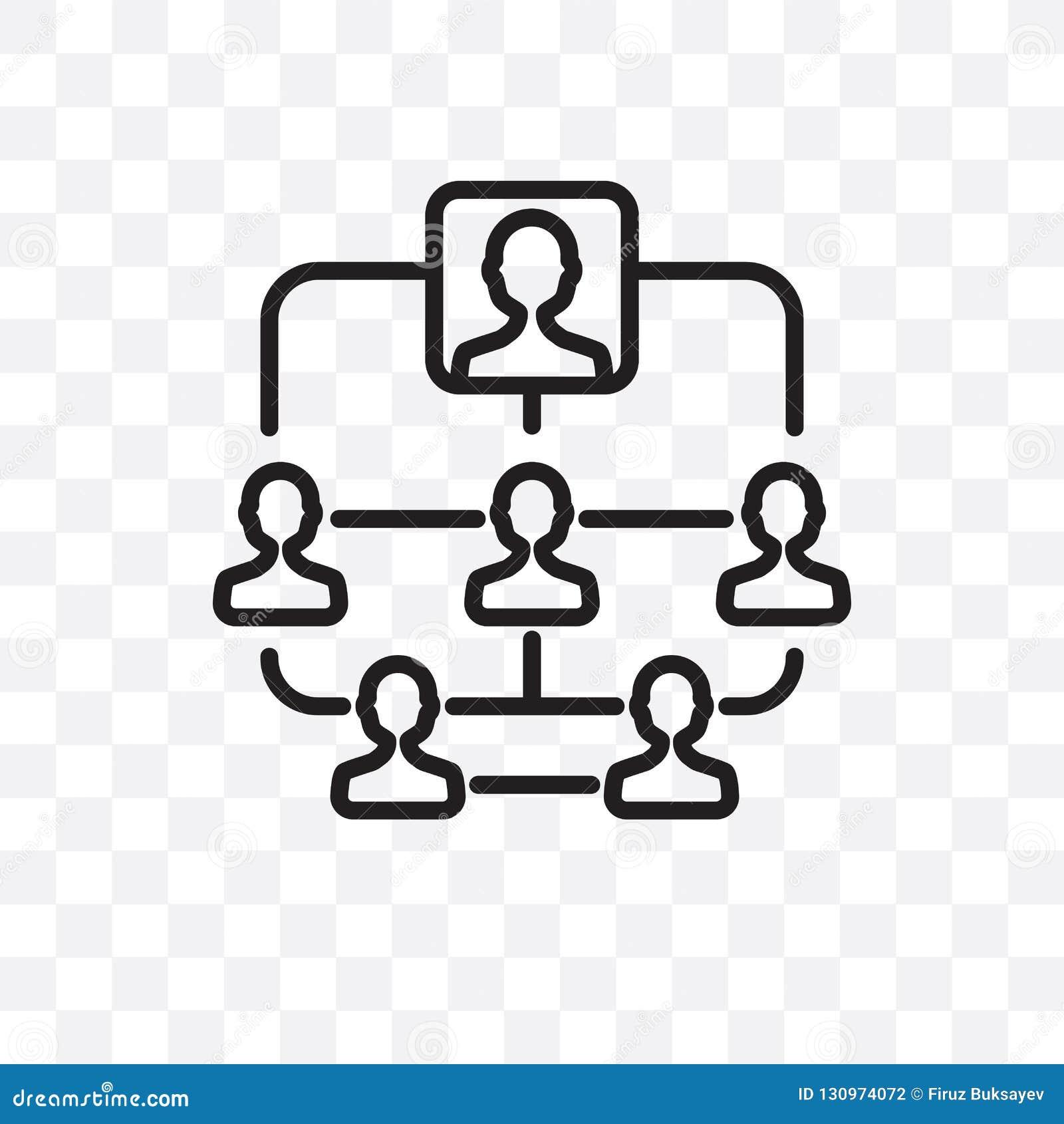 Hierarchical struktury wektorowa liniowa ikona odizolowywająca na przejrzystym tle, Hierarchical struktury przezroczystości pojęc