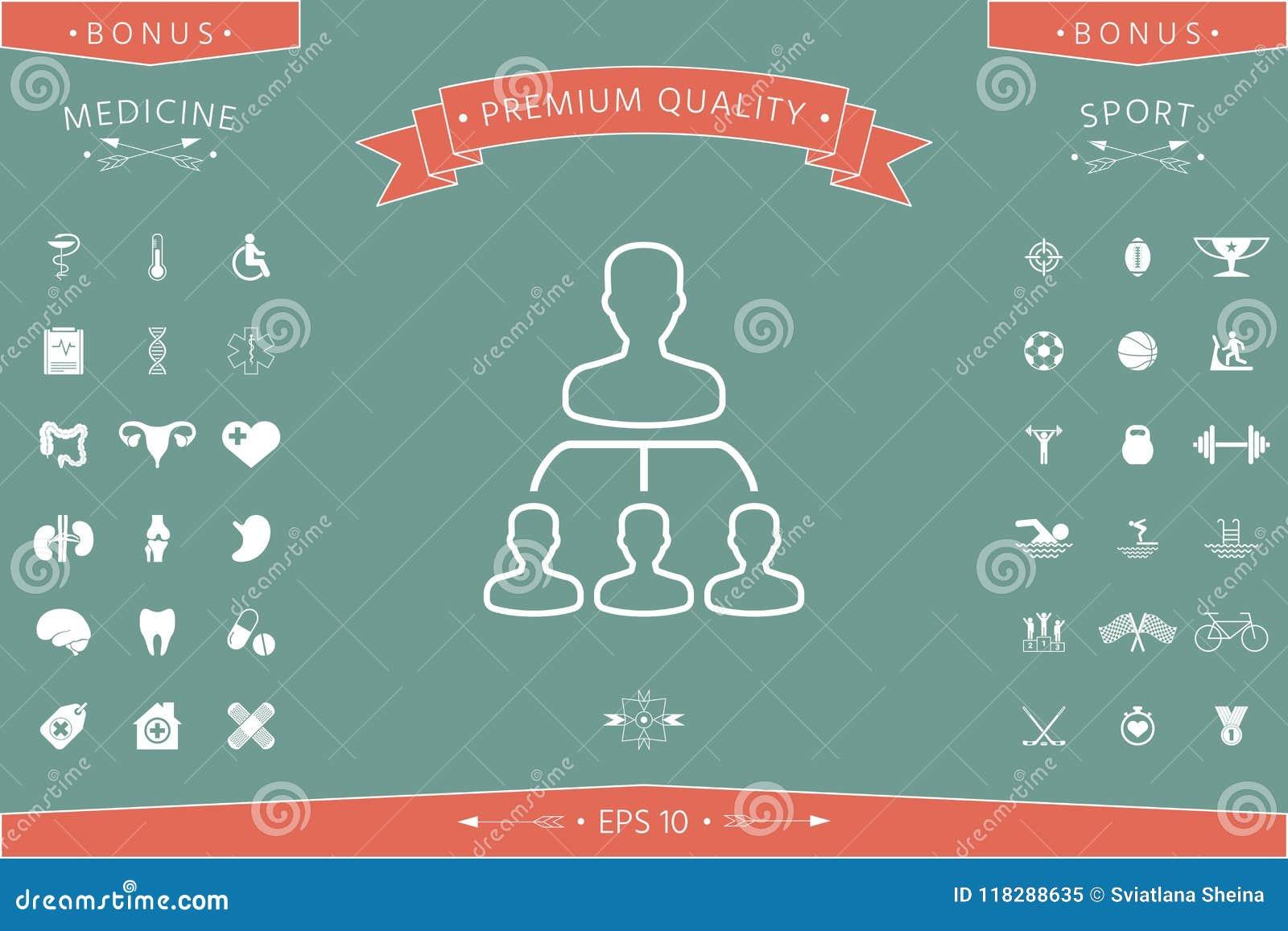 Hierarchie - Linie Ikone