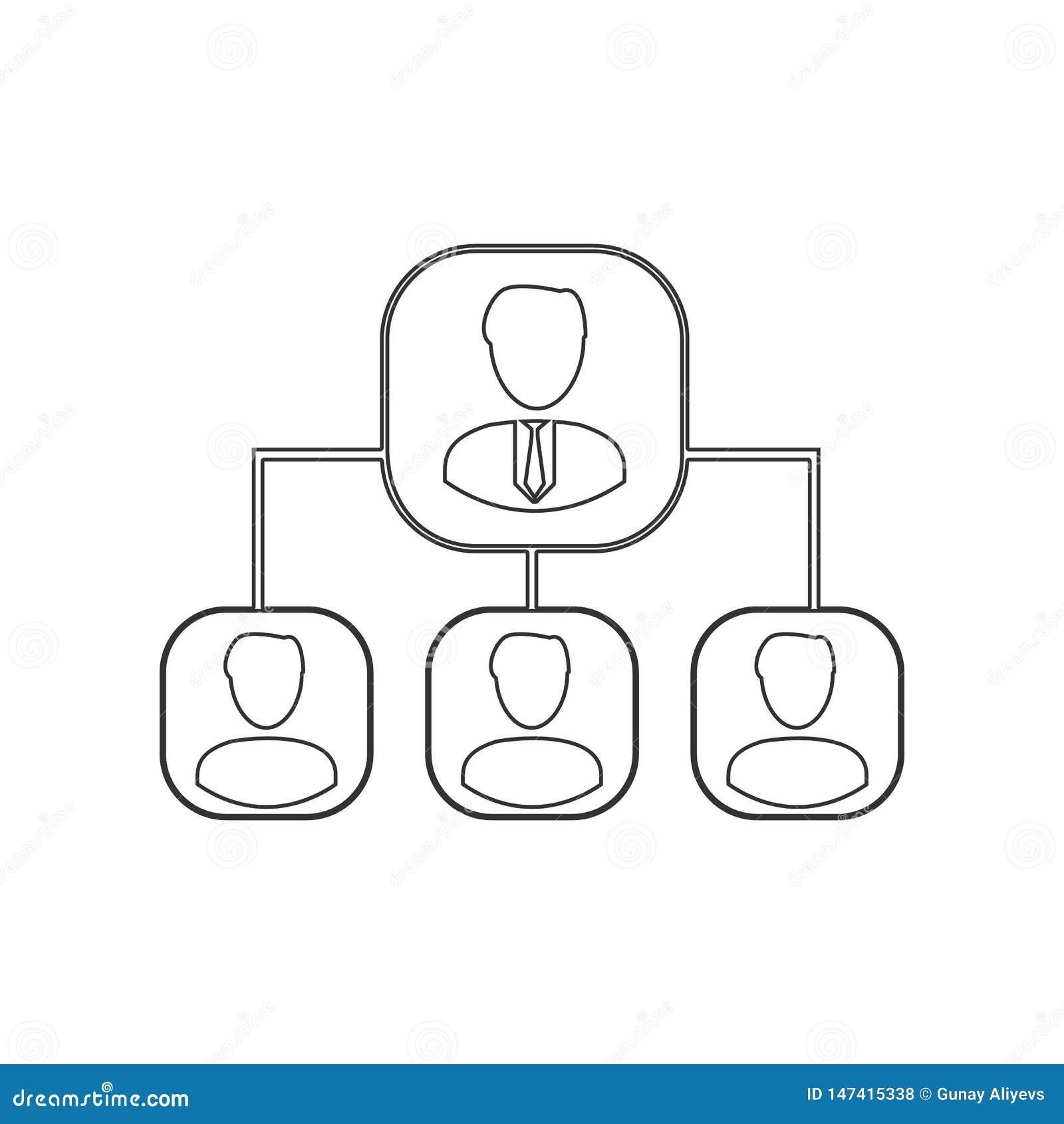 Hierarchii ikona Element HR dla mobilnego poj?cia i sieci apps ikony Kontur, cienka kreskowa ikona dla strona internetowa projekt